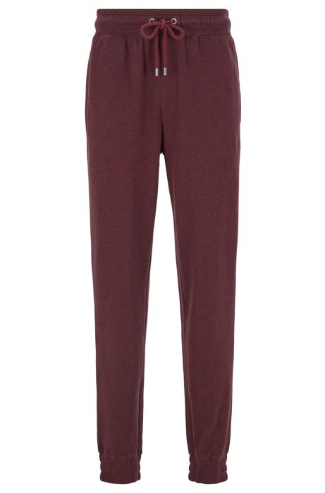 Cuffed loungewear pants in double-faced melange fabric, Dark Red