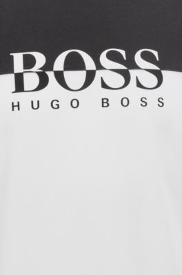 38dcd952 BOSS - Color-block loungewear T-shirt with logo print