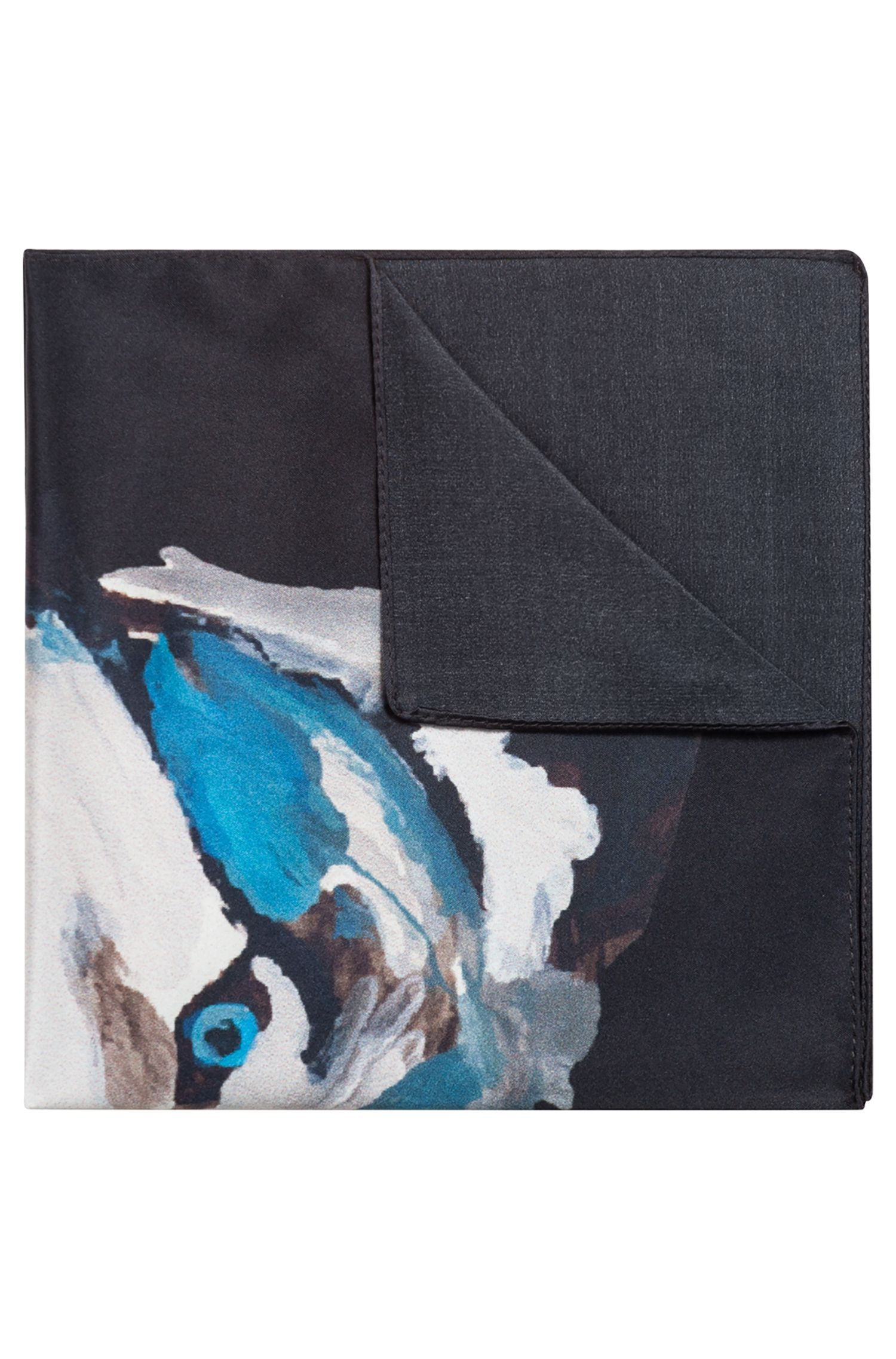 Silk pocket square with wolf motif, Black
