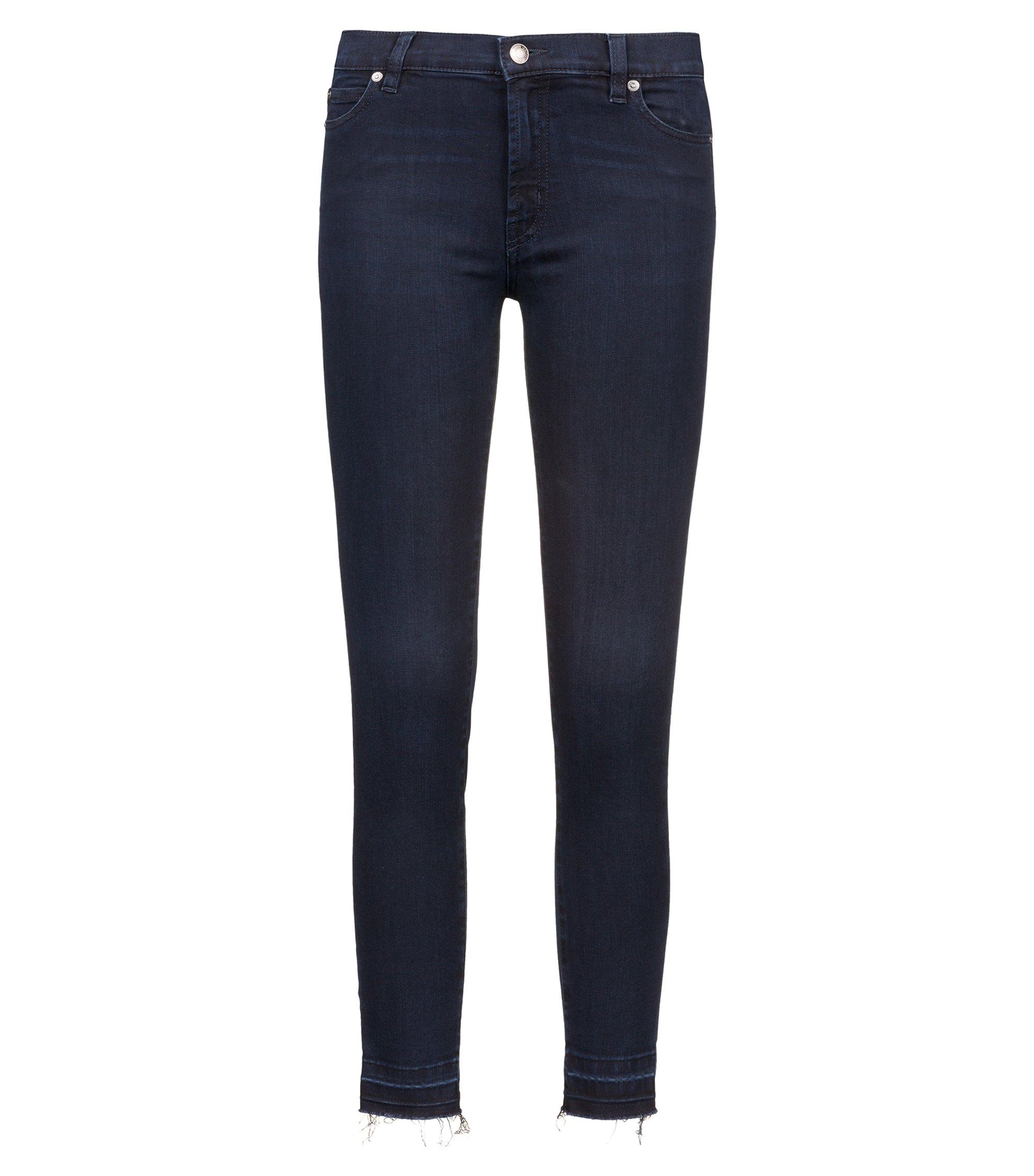 Extra-slim-fit stretch-denim jeans with open hems, Dark Blue