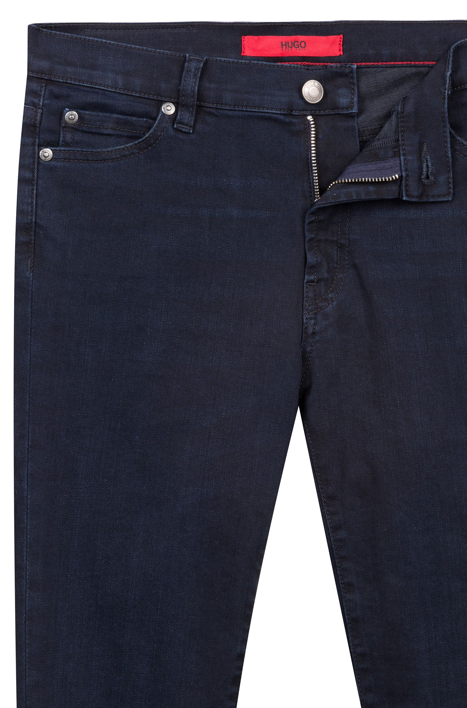 Extra-slim-fit stretch-denim jeans with open hems, Dark Blue