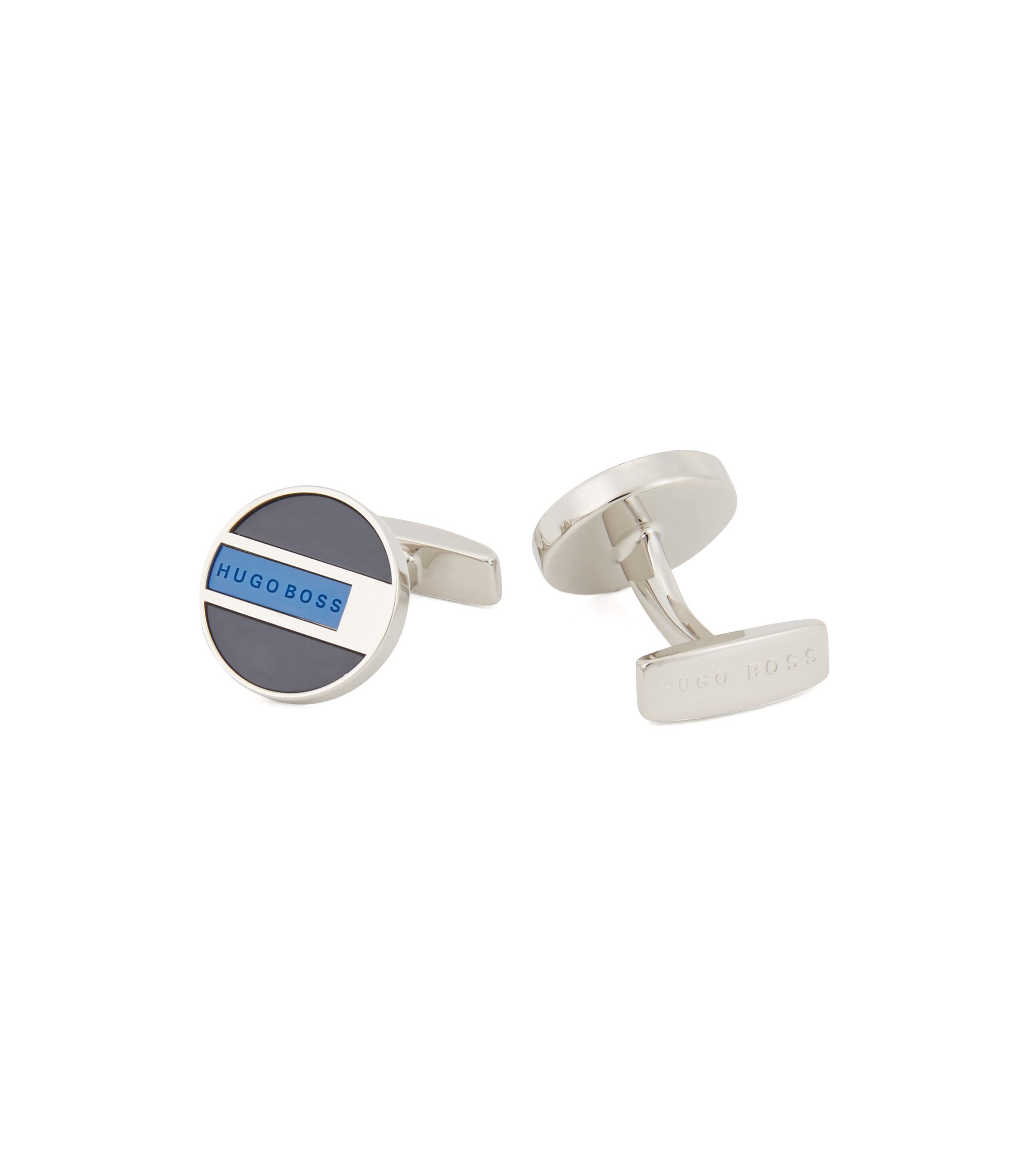 Round cufflinks in polished brass with enamel color-blocking, Blue