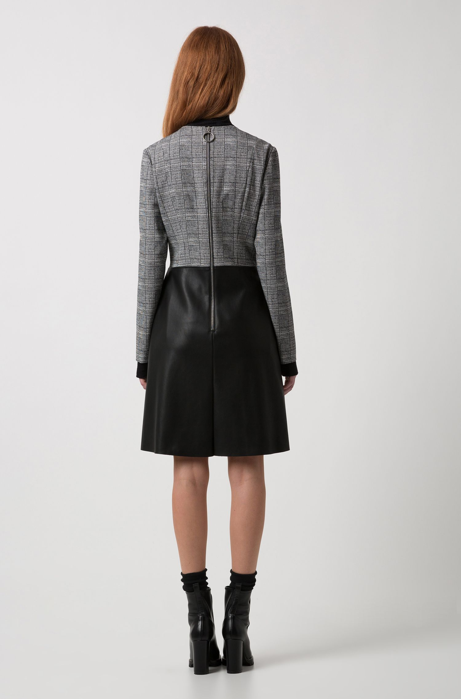 Long-sleeved dress with faux-leather flared skirt, Patterned