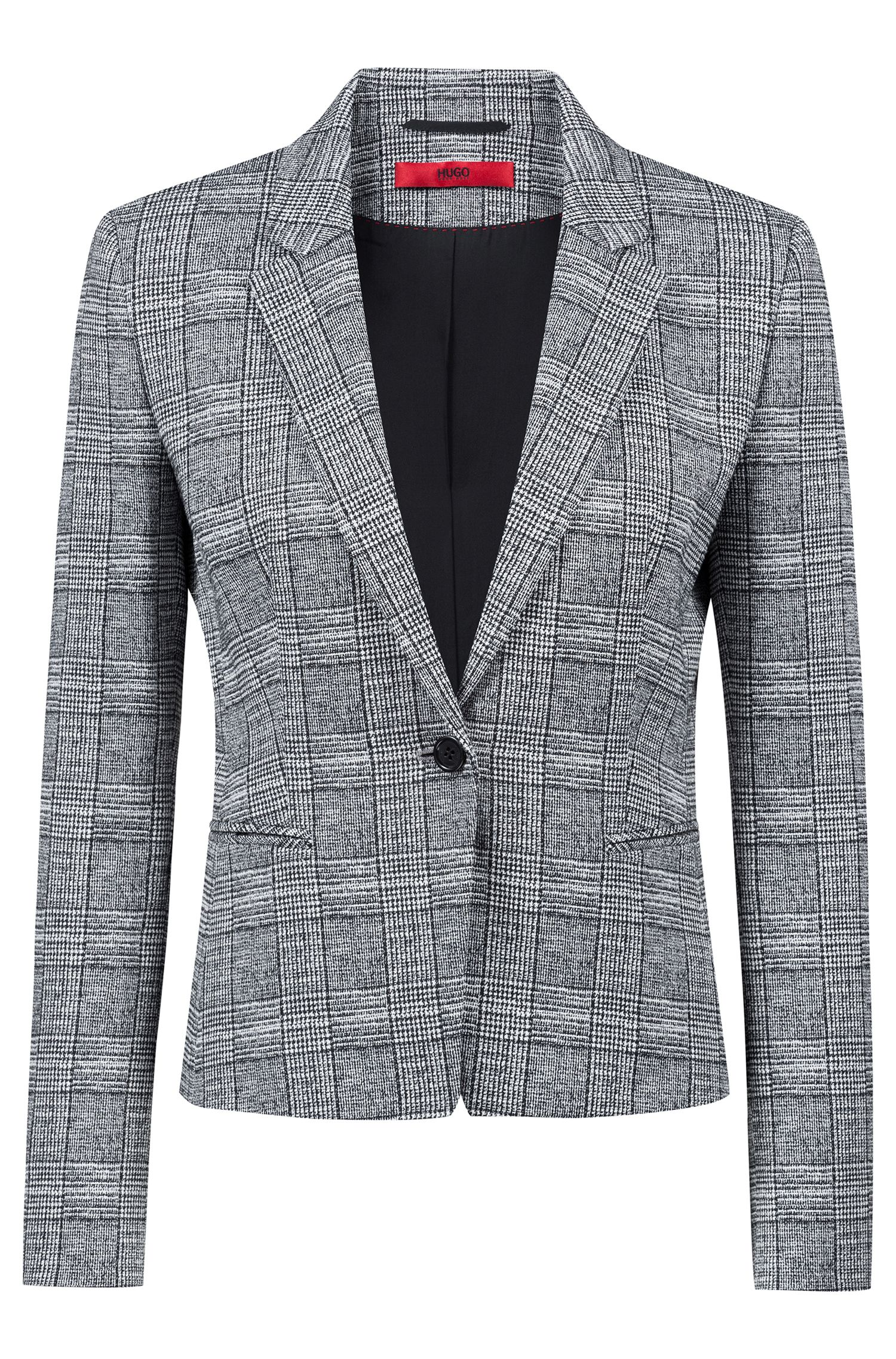 Slim-fit blazer in black-and-white check pattern, Patterned