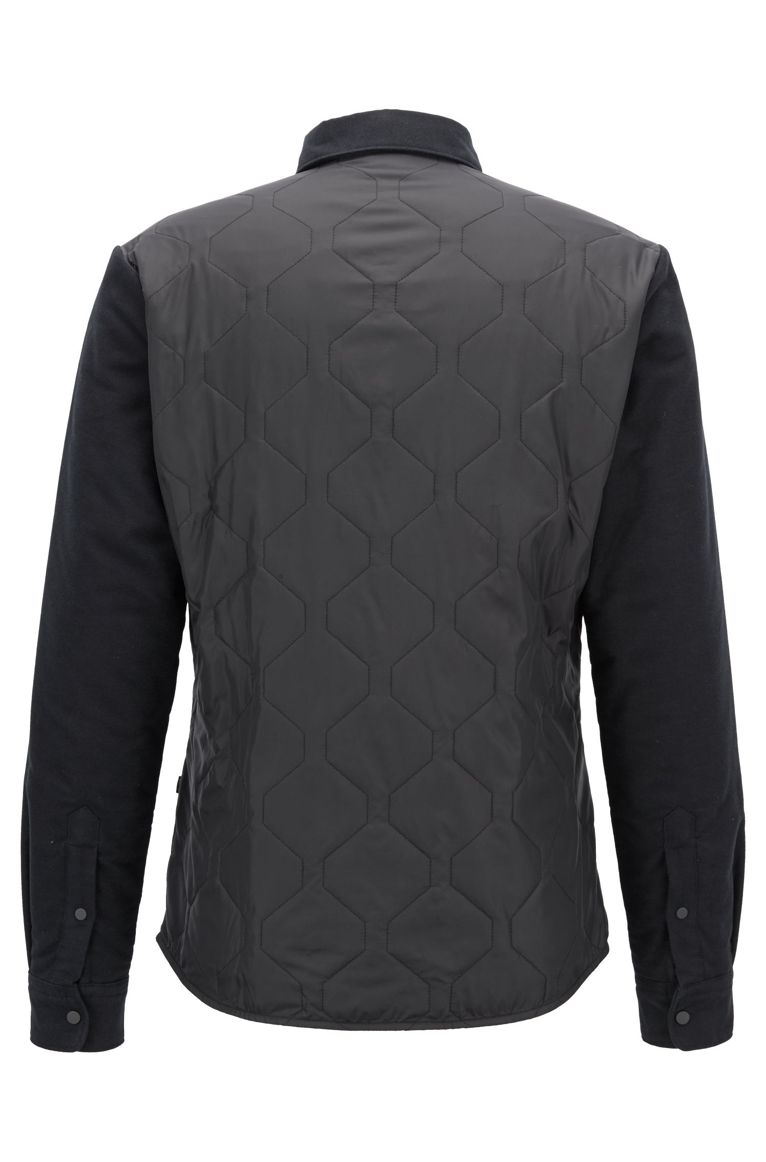Regular-fit heavyweight shirt with quilted panels, Black