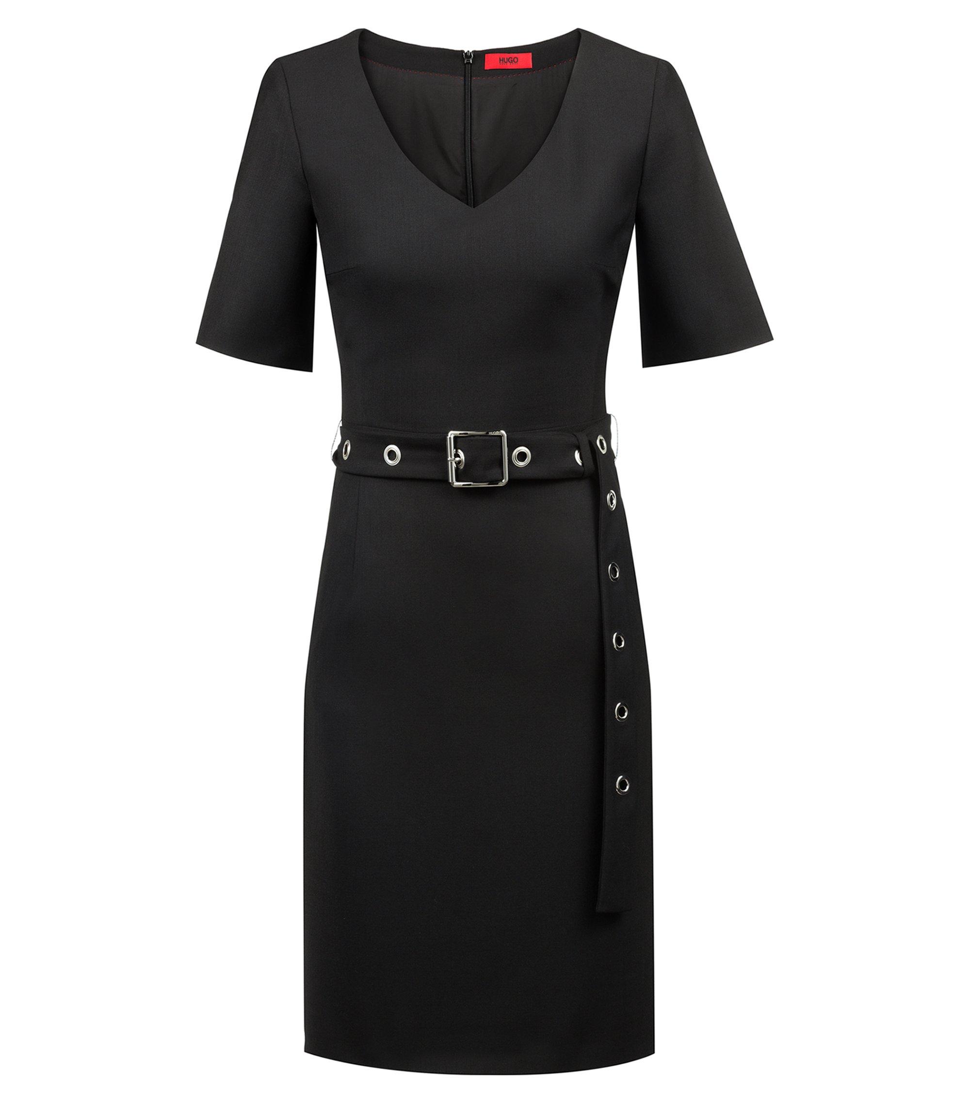 V-neck business dress with signature eyelet belt, Black