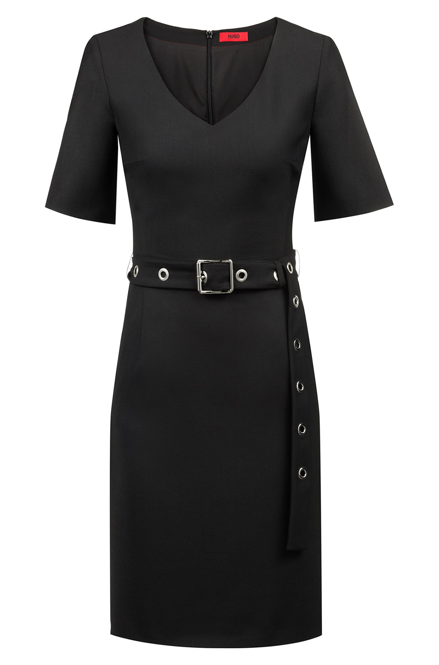 V-neck business dress with signature eyelet belt, Black