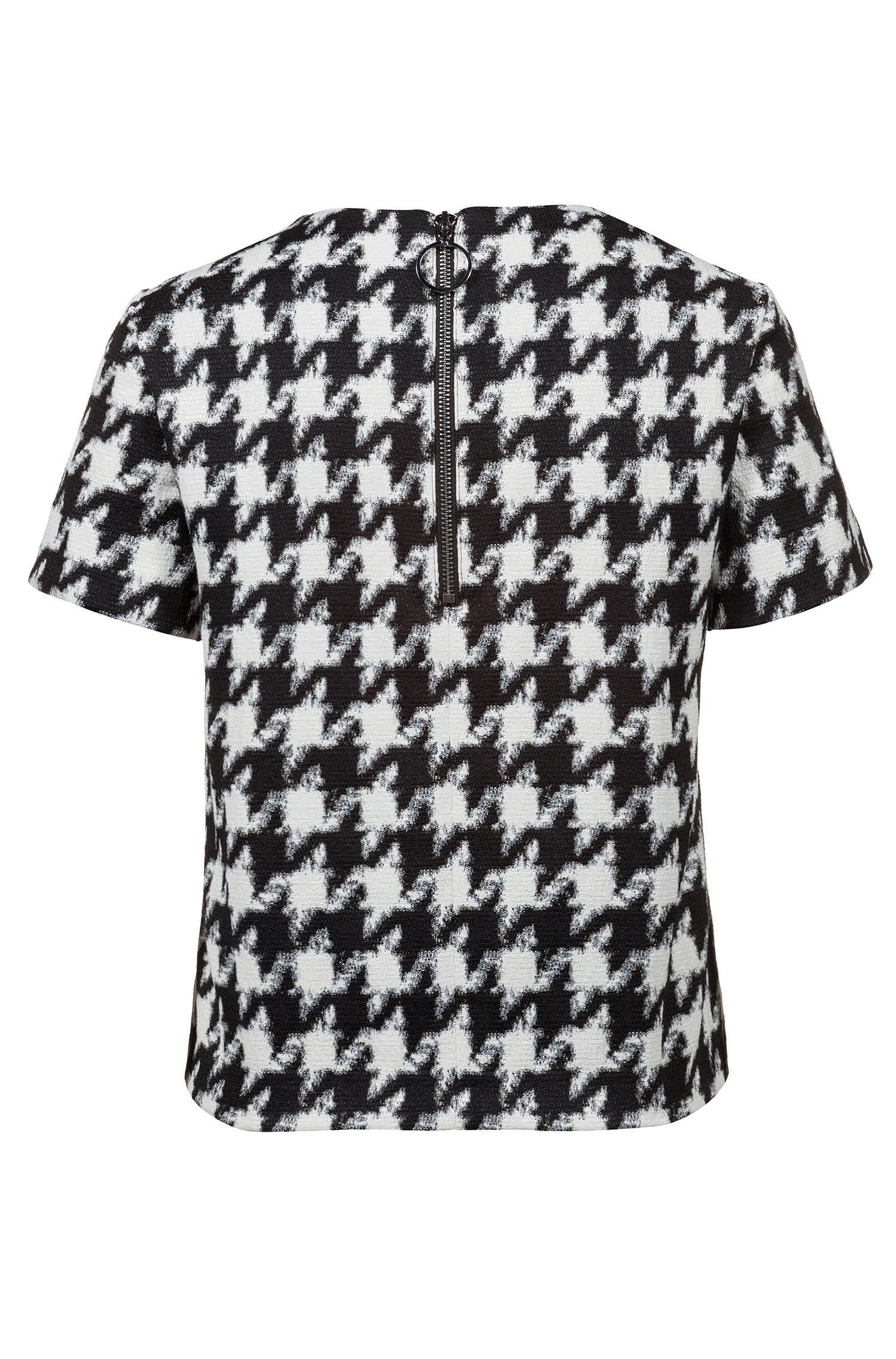 Houndstooth top in a cotton blend, Patterned