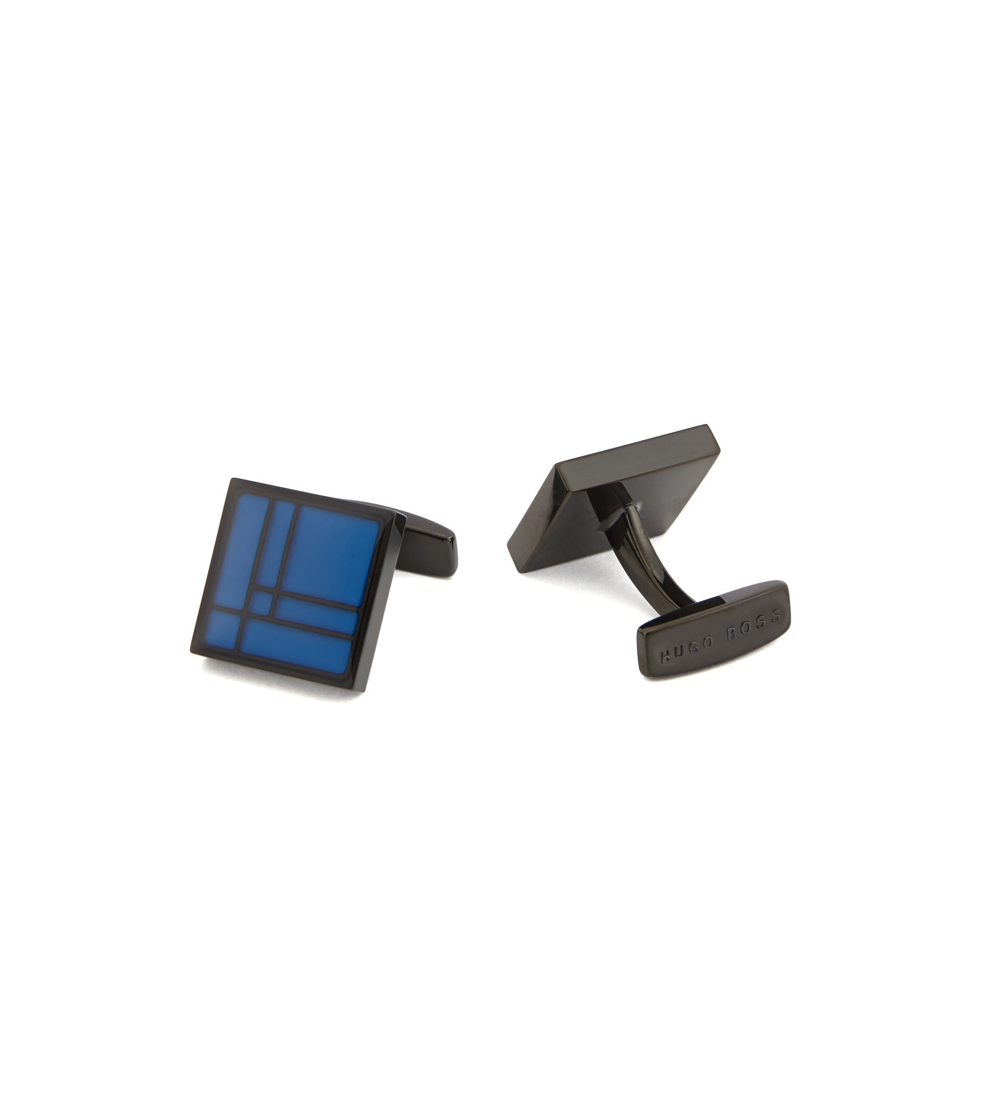 Black-plated square cufflinks in brass with geometric pattern, Blue