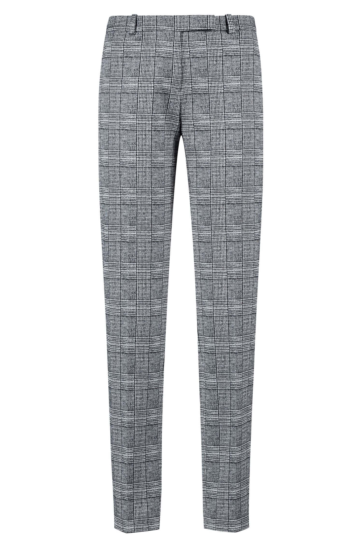 Cropped cigarette pants in black-and-white check pattern, Patterned