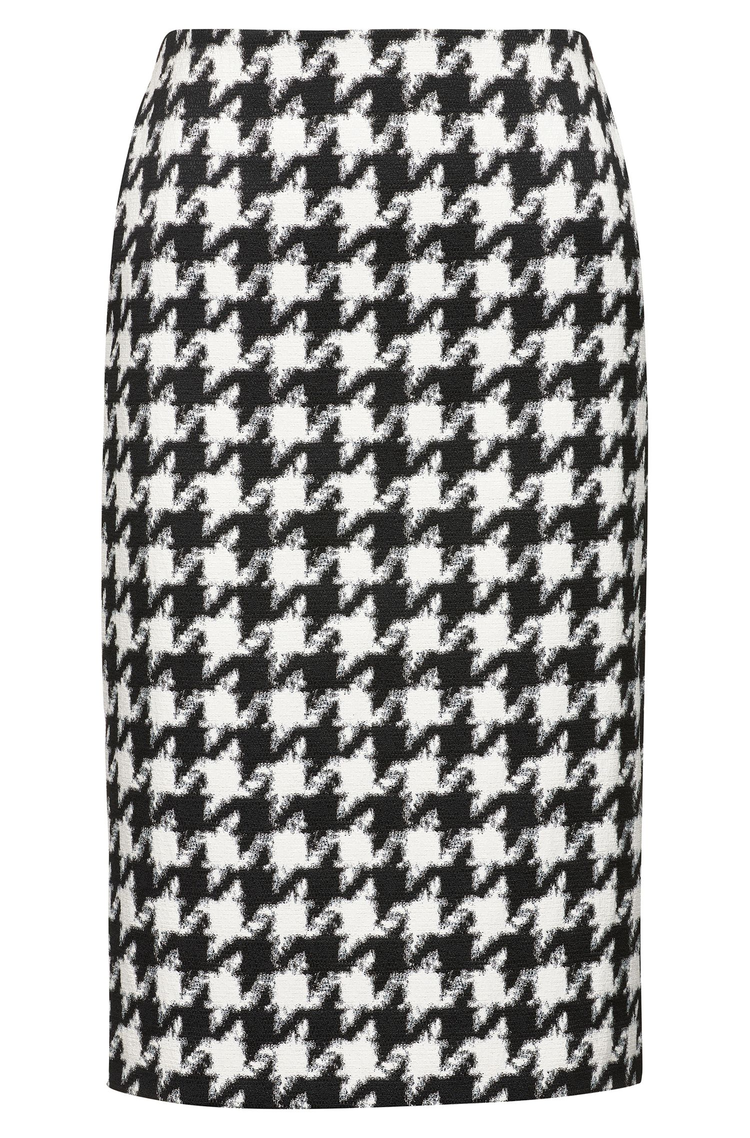 Midi-length pencil skirt with oversized houndstooth check pattern, Patterned