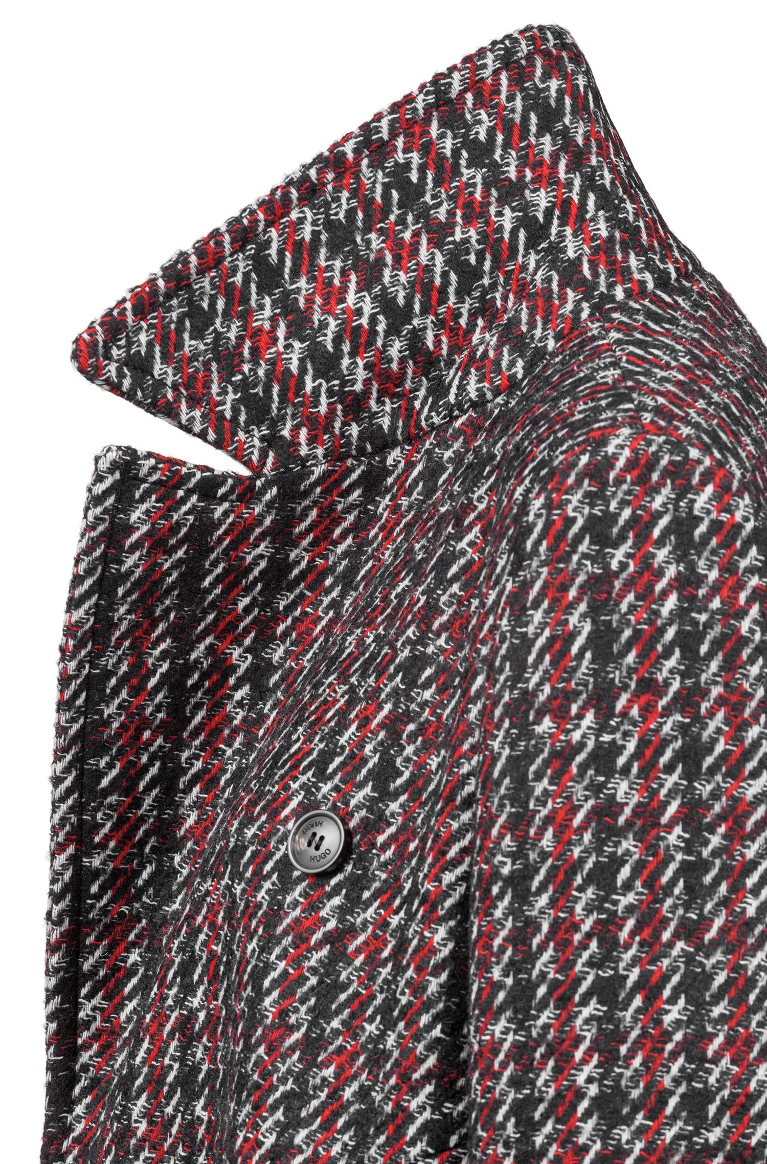 Relaxed-fit coat with all-over two-tone check pattern, Patterned