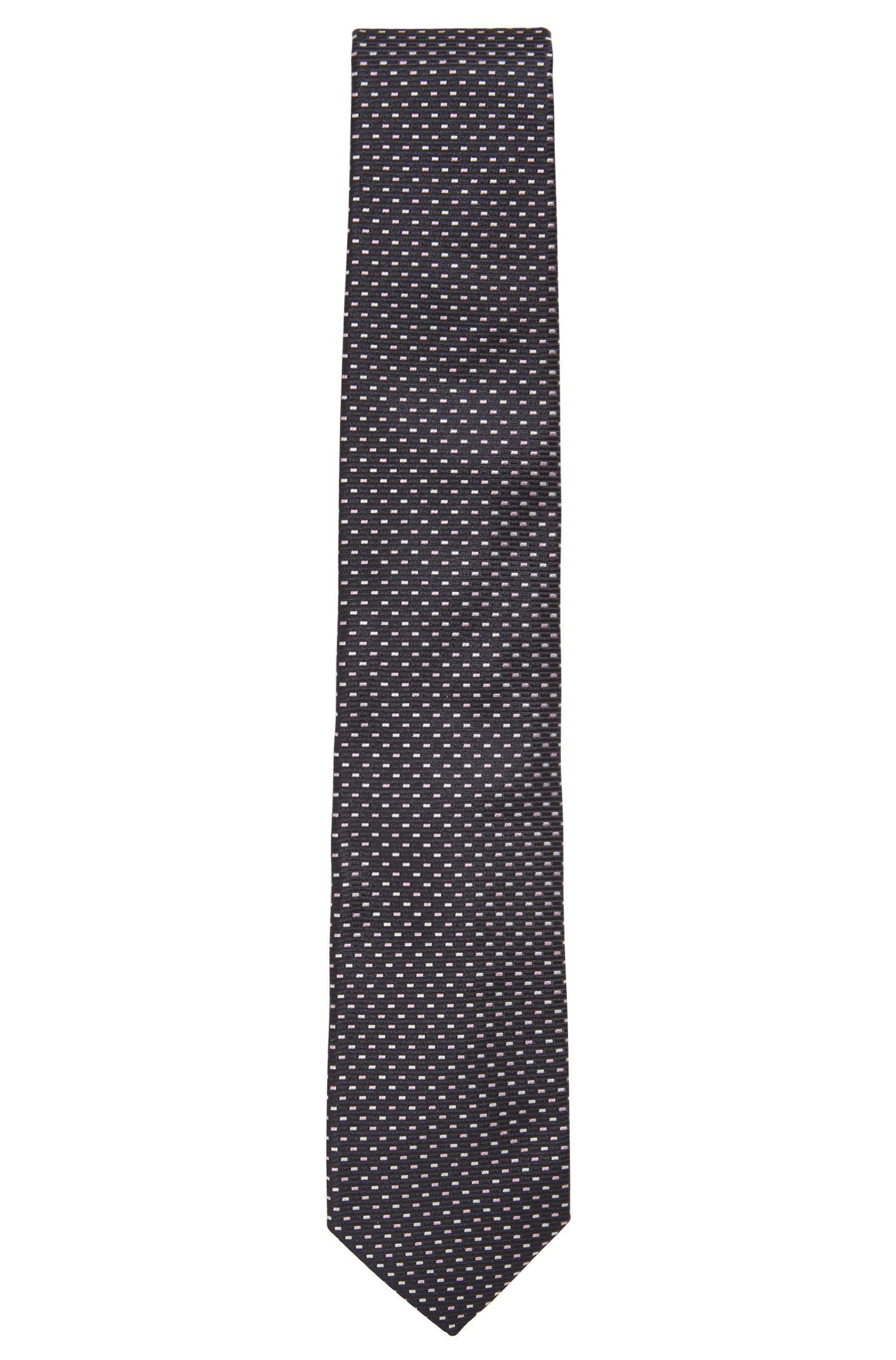 Italian-made patterned tie in pure silk jacquard, Open Blue