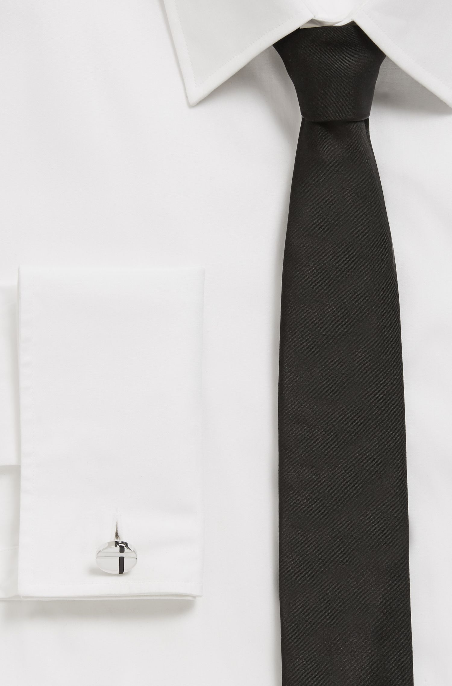 Tailored cufflinks with black onyx and mother-of-pearl, Silver