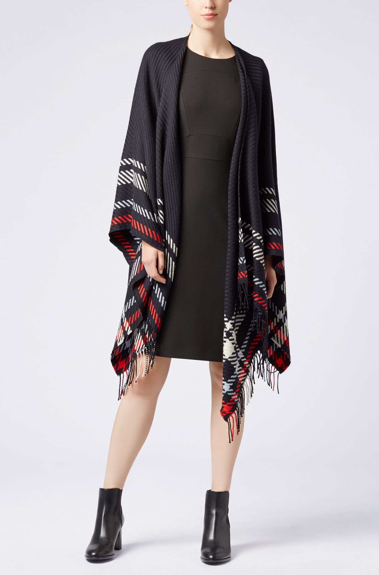 Virgin-wool and cashmere-blend poncho with fringing, Patterned