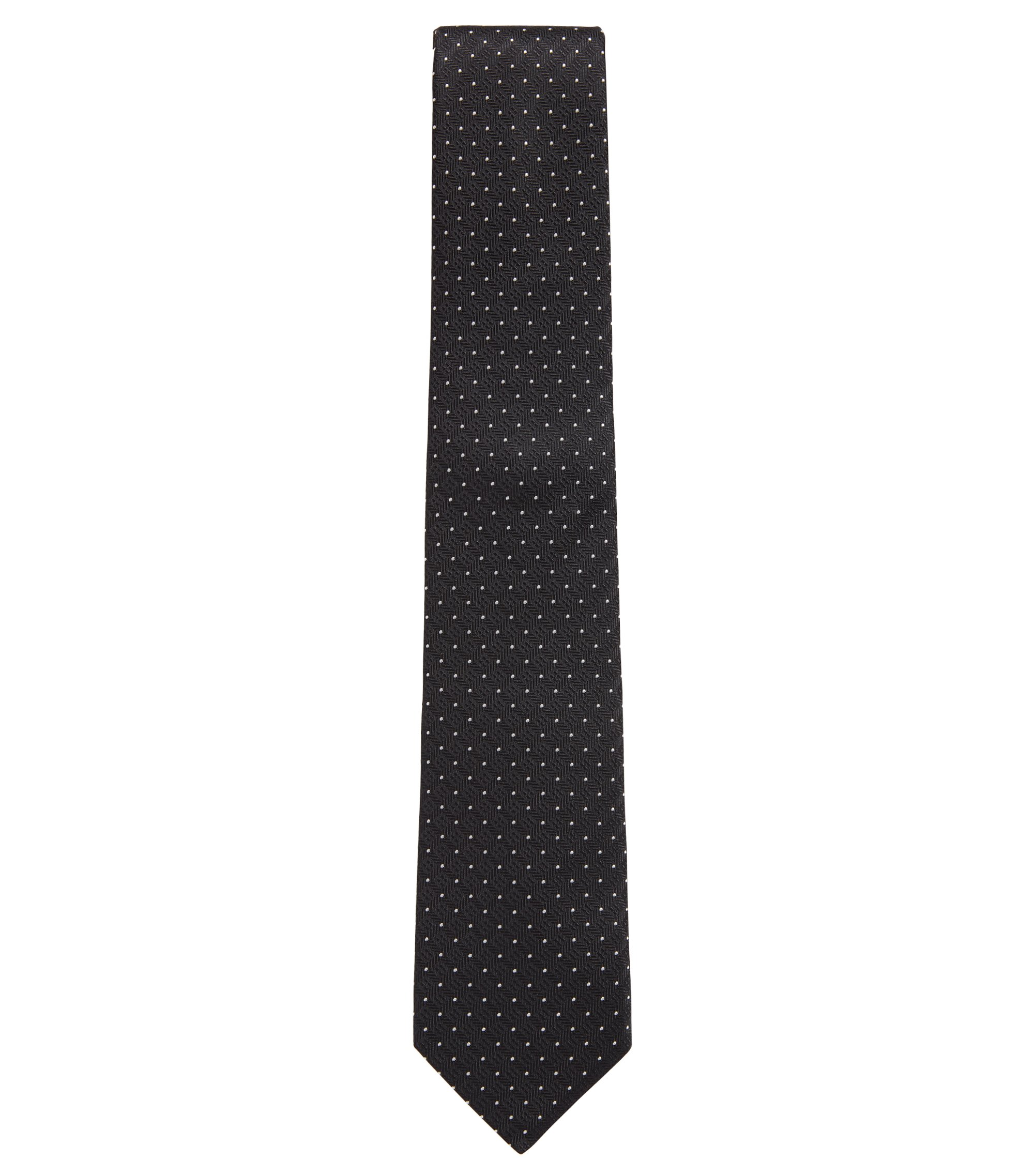 Dot-print tie in silk jacquard , Black
