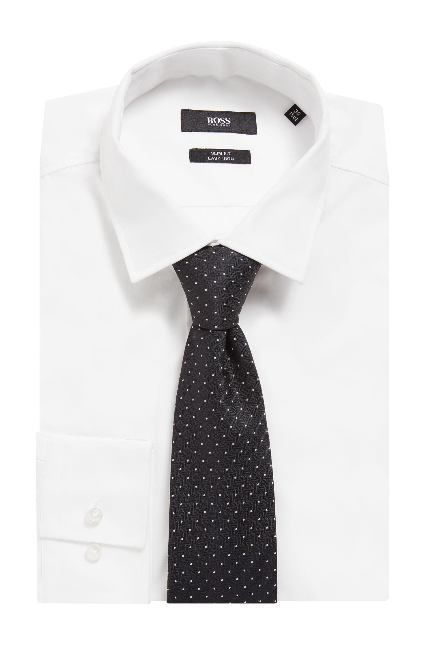 Dot-print tie in silk jacquard , Black