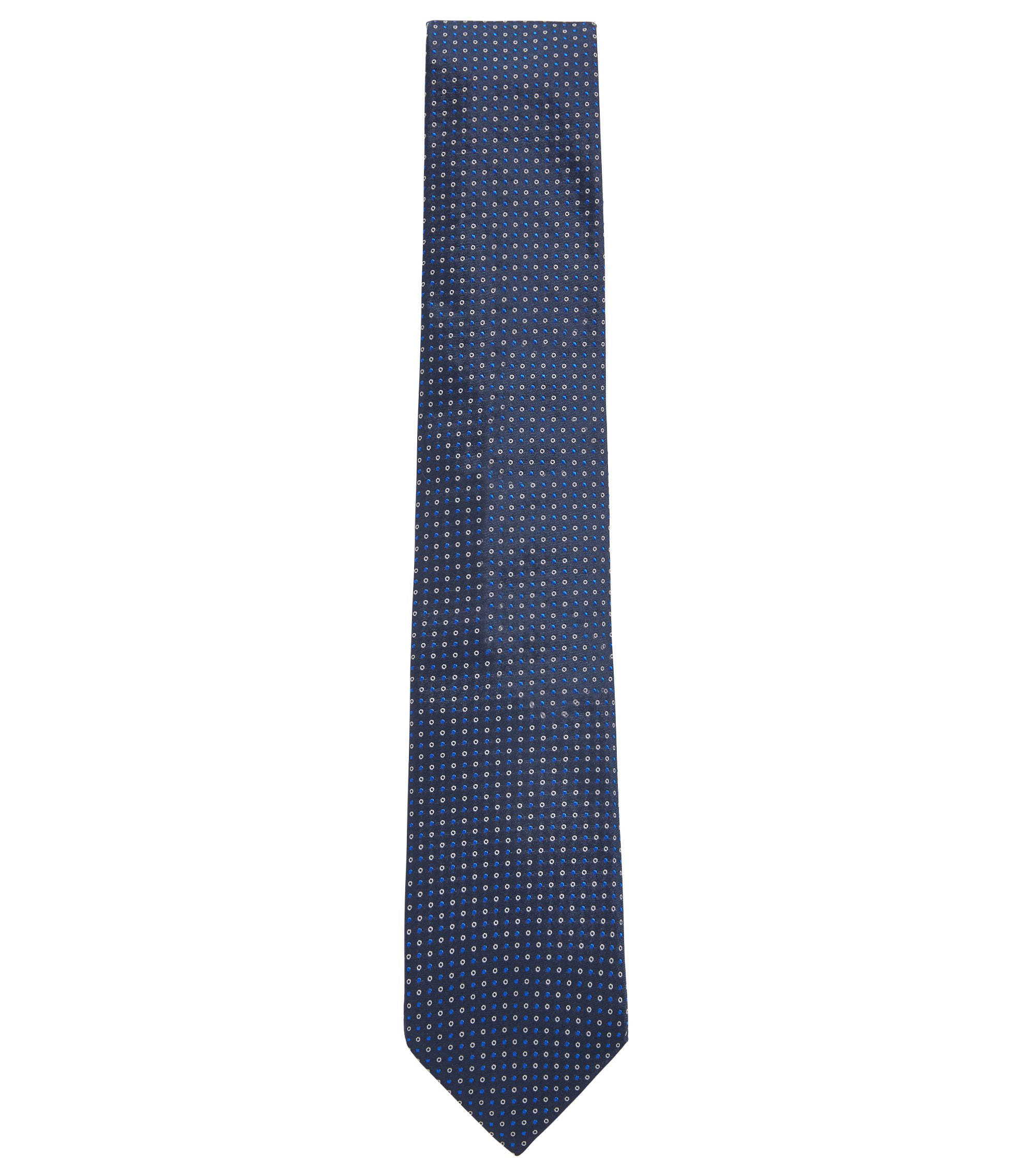 Italian-made silk tie with two-color dot motif, Open Blue