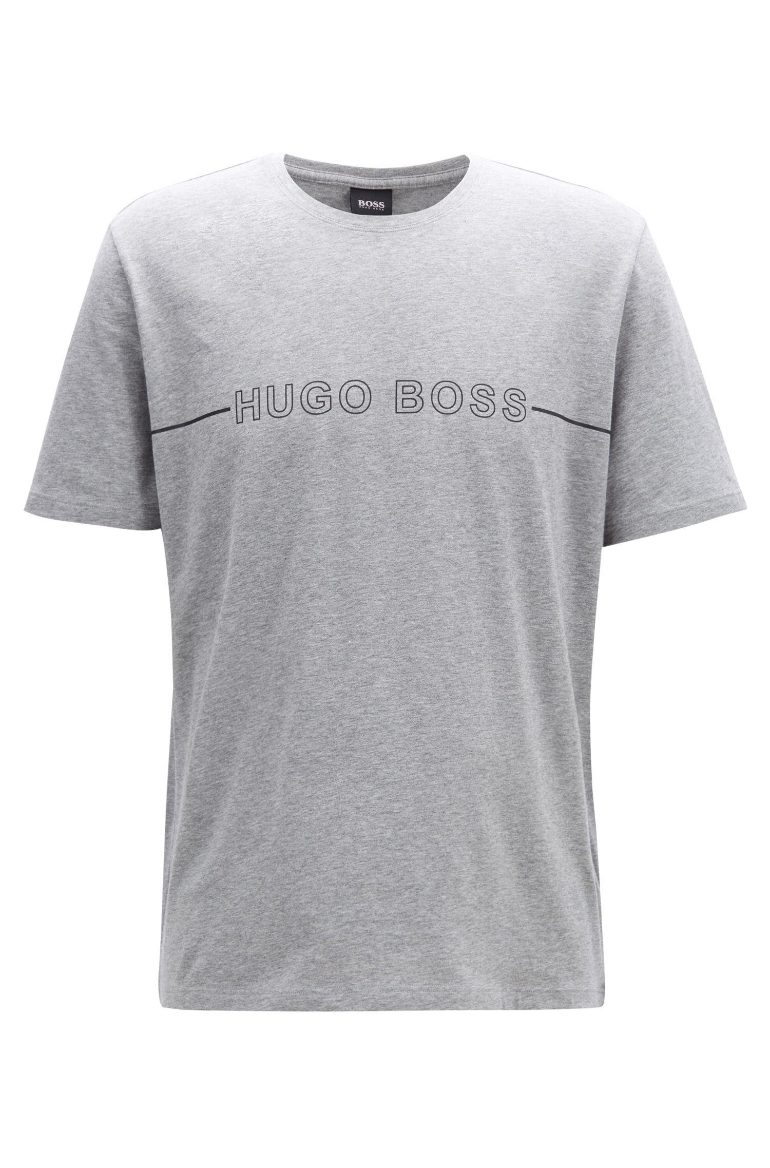 Logo pajama T-shirt in stretch-cotton jersey, Grey