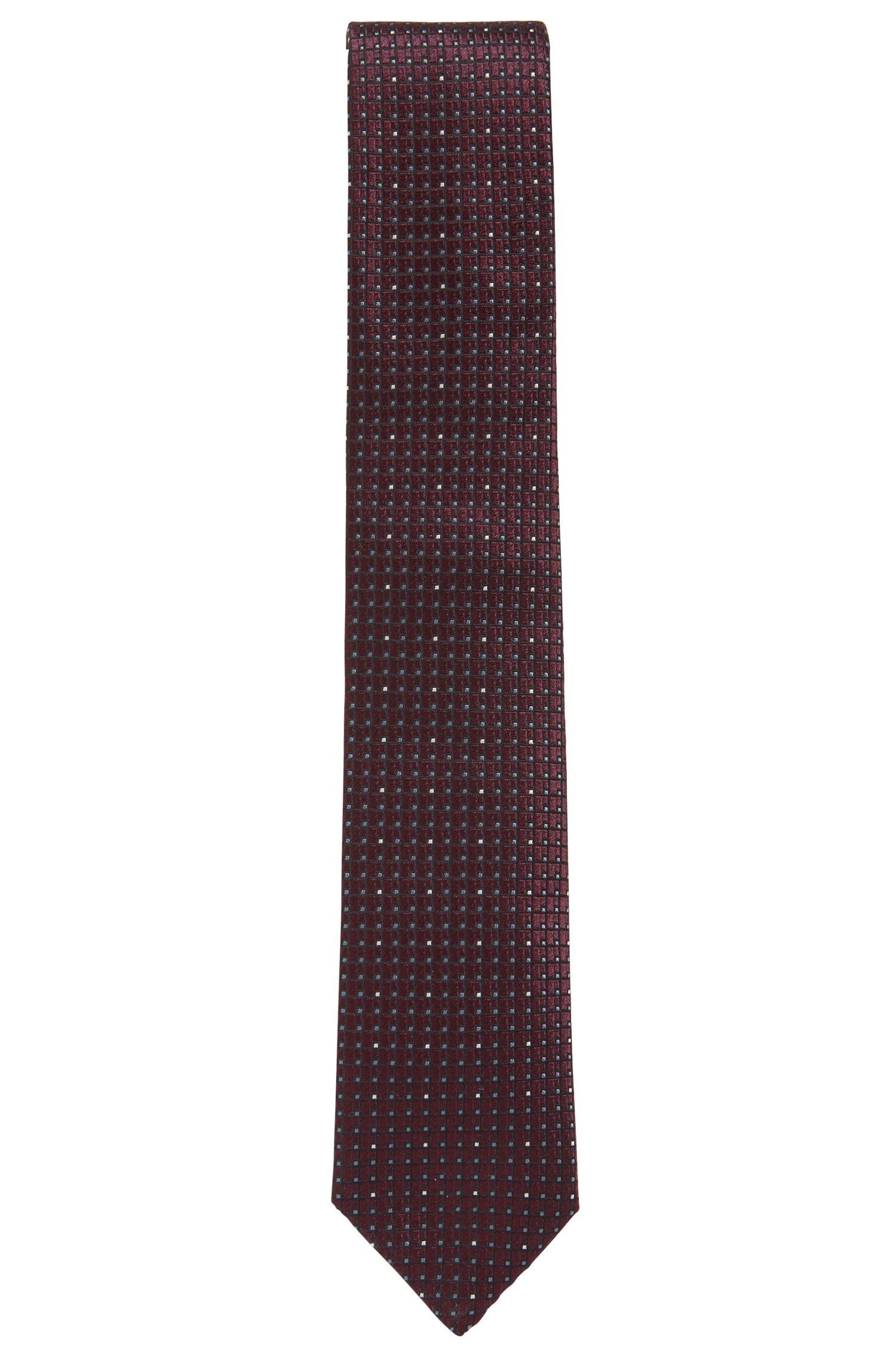 Patterned tie in jacquard-woven Italian silk, Dark Purple