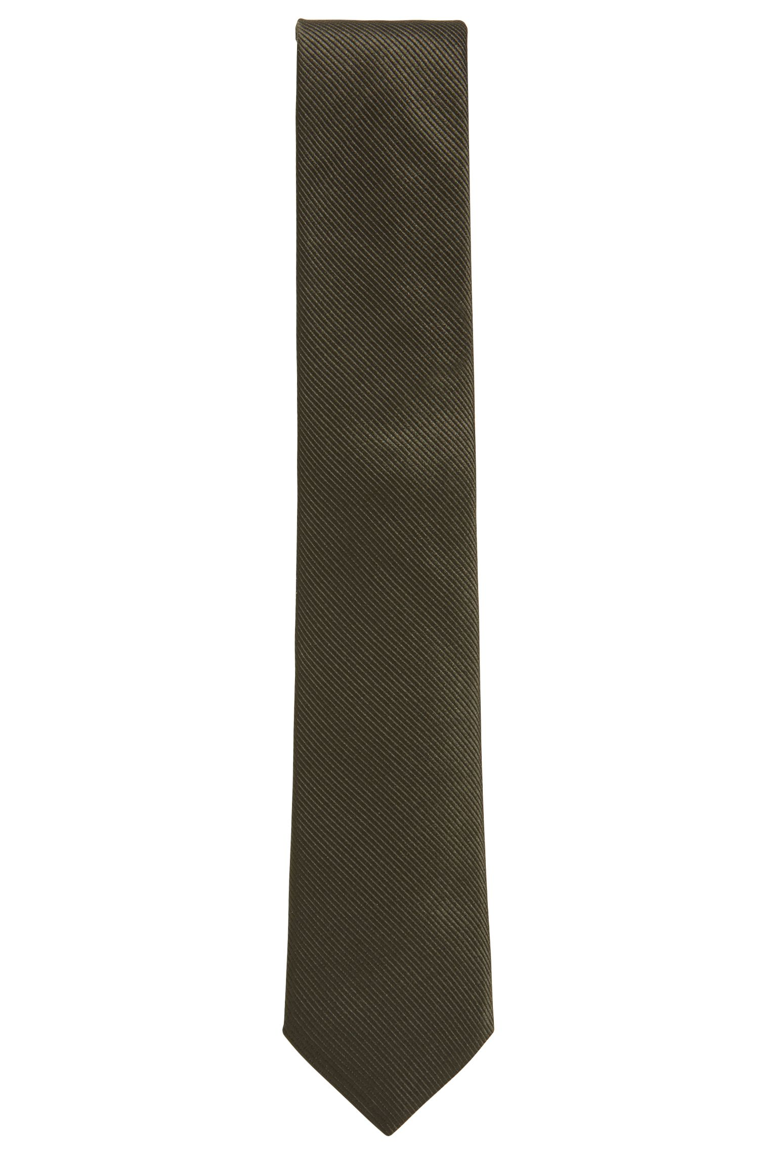 Silk tie with woven diagonal stripes, Dark Green