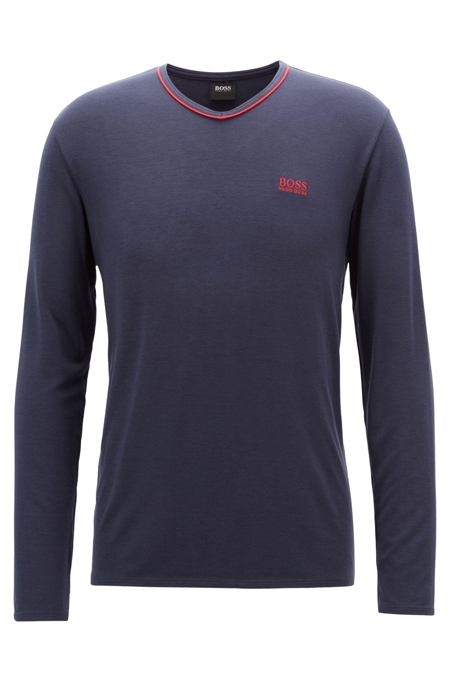 V-neck pajama top in modal-blend jersey, Dark Blue
