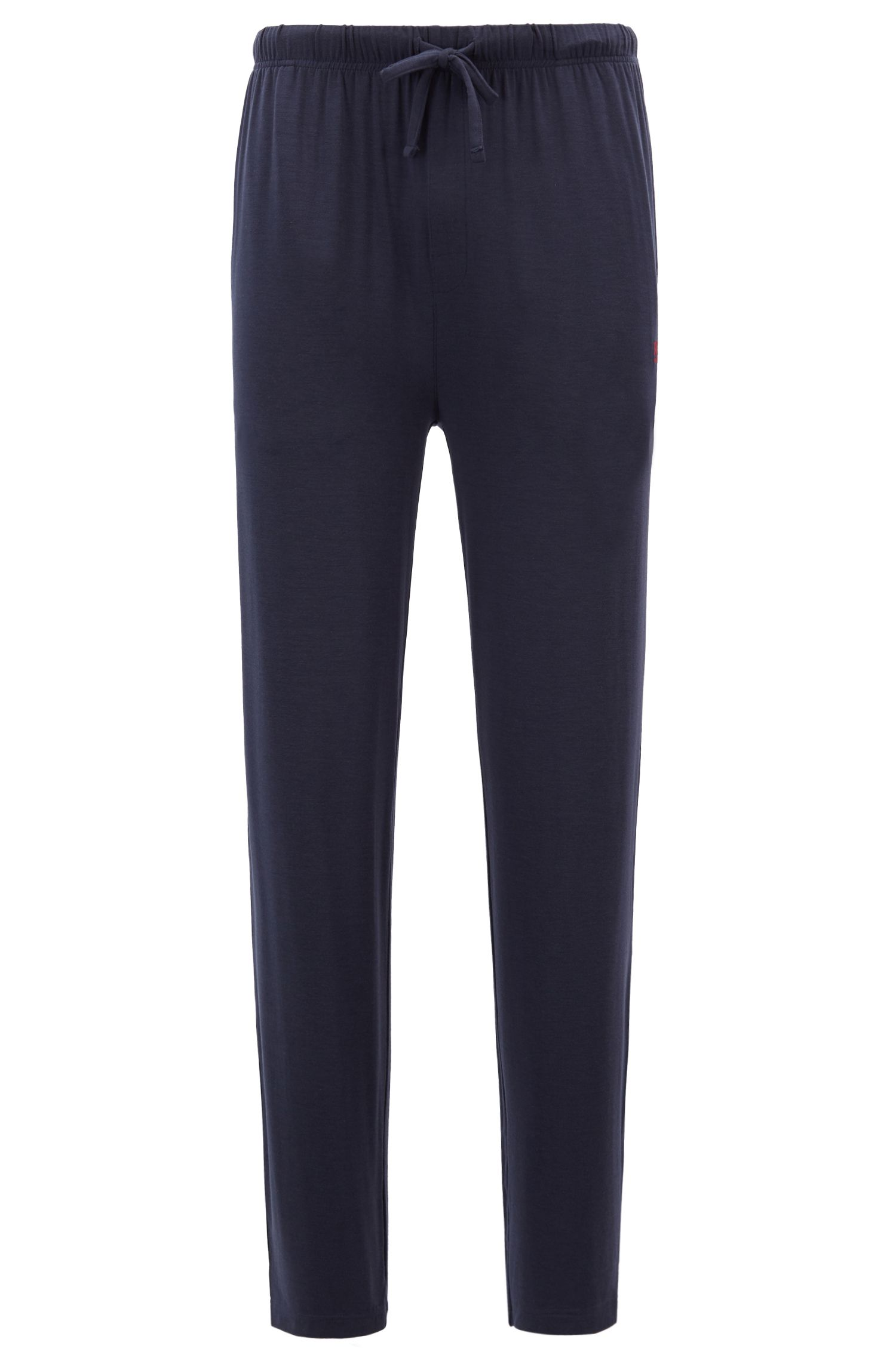 Drawstring pajama bottoms in modal-blend jersey, Dark Blue