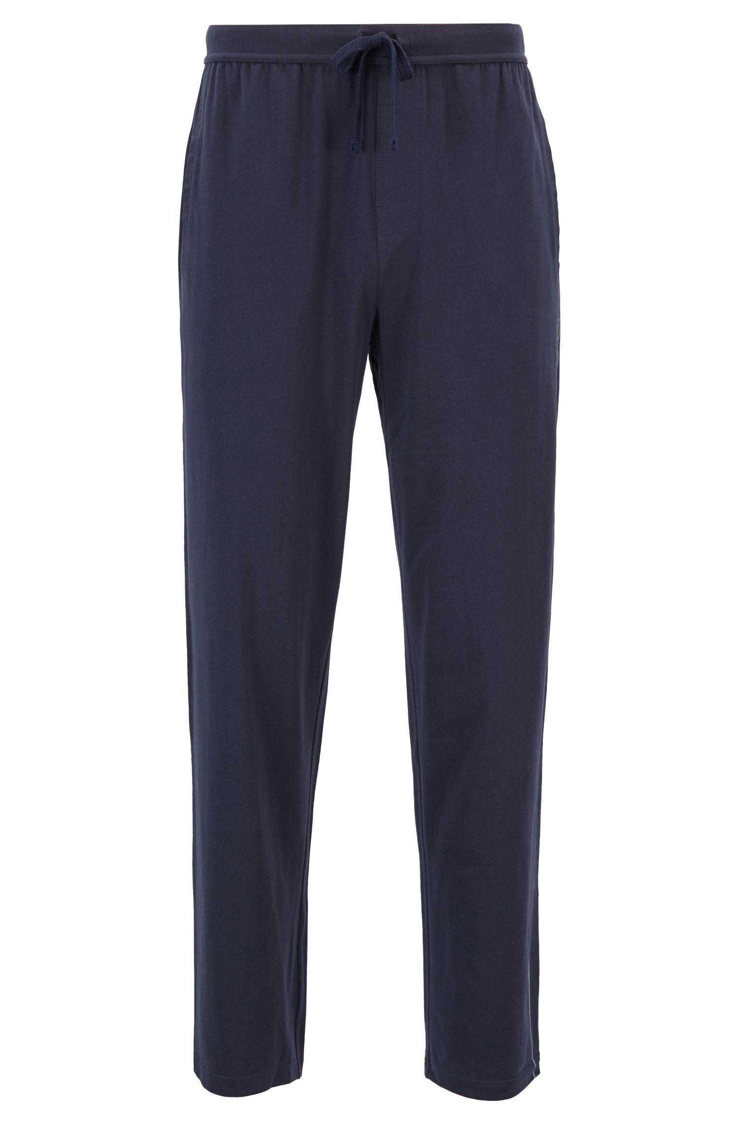 Stretch-jersey pajama bottoms with side logo print, Dark Blue