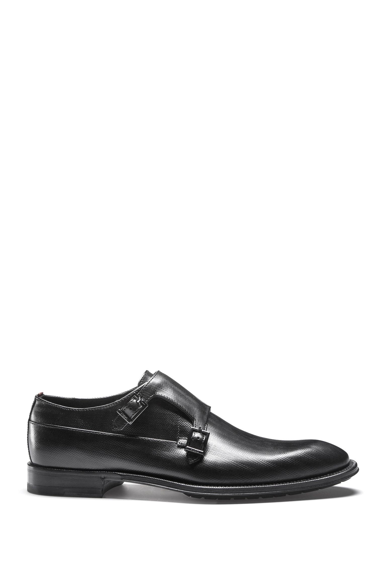 Double-strap monk shoes in chevron-print leather, Black