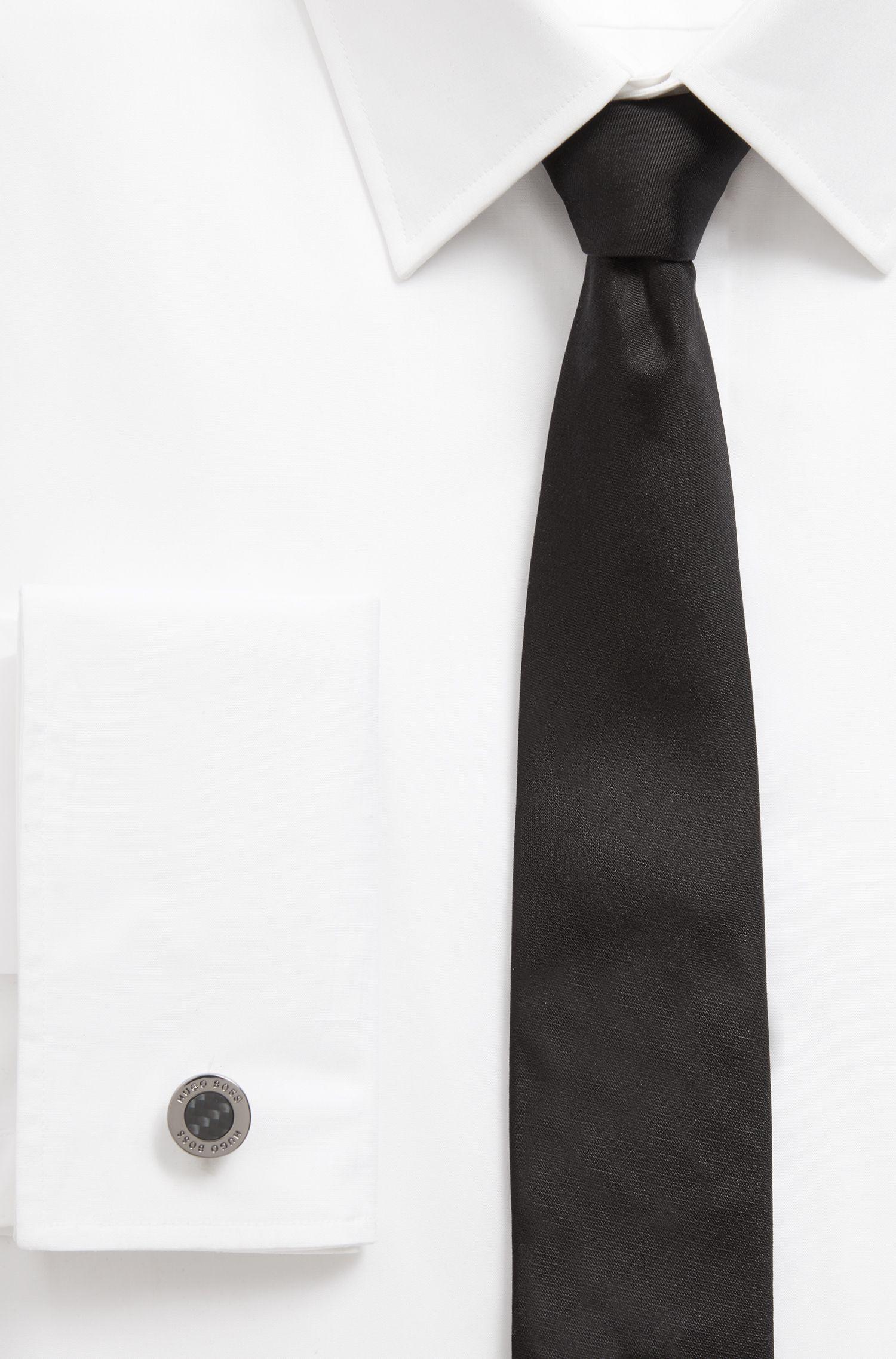 Dark-plated round cufflinks with carbon-fiber core, Black