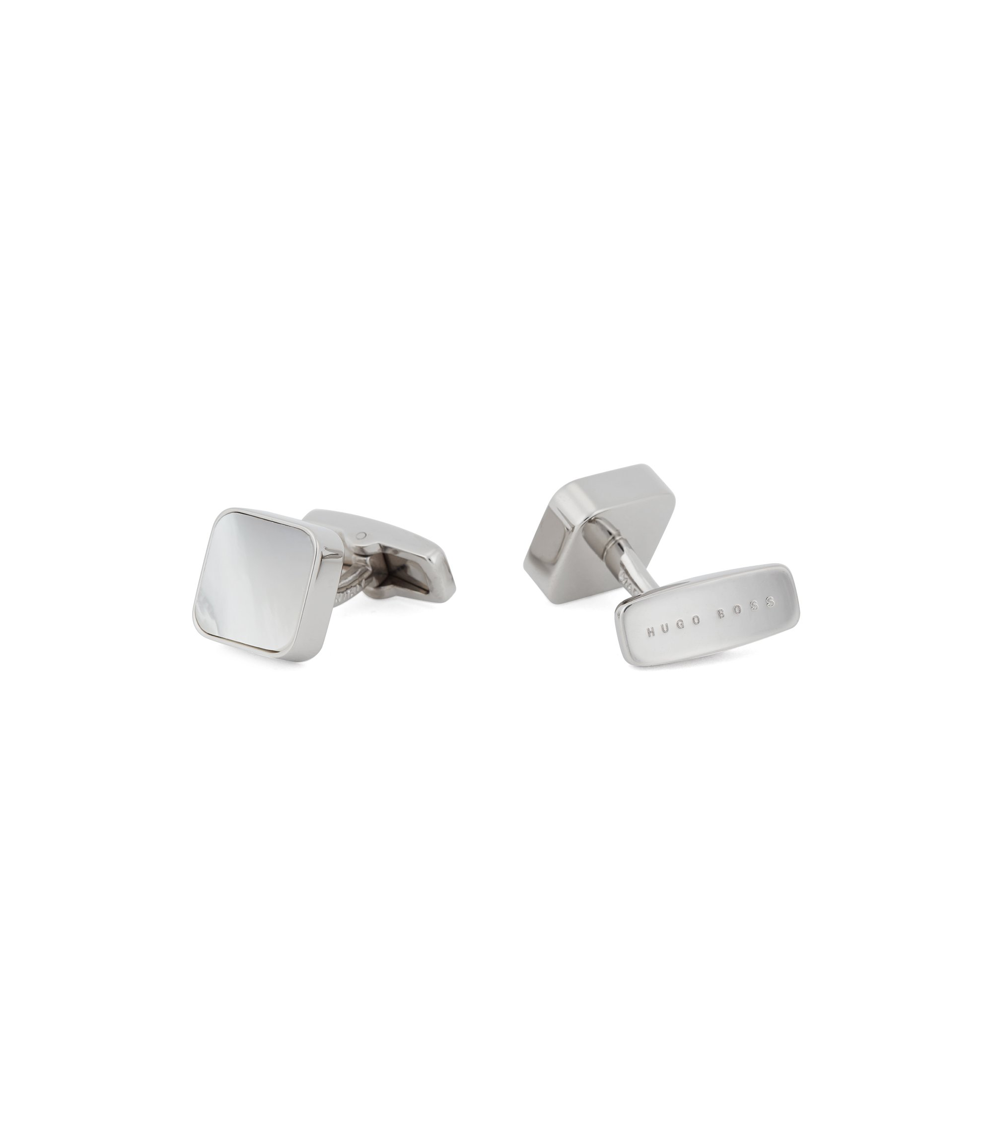 Tailored square cufflinks in brass with mother-of-pearl, White