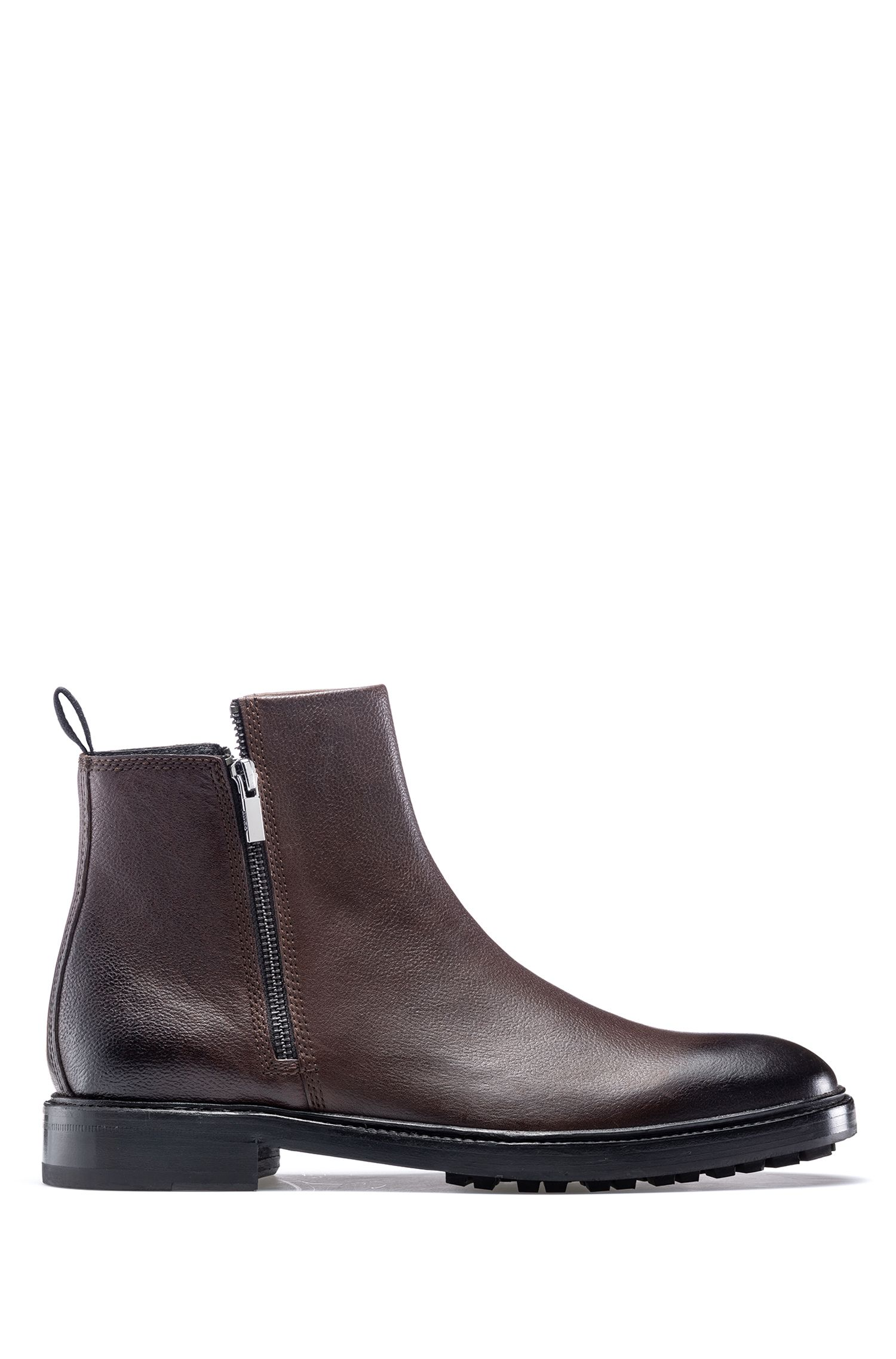 Double-zipper ankle boots in tumbled leather with lug sole, Dark Brown