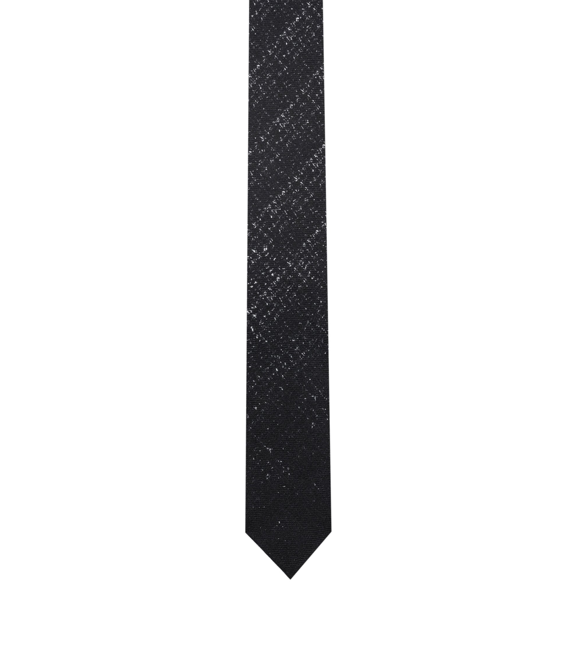 Textured tie in pure wool with placement print, Black