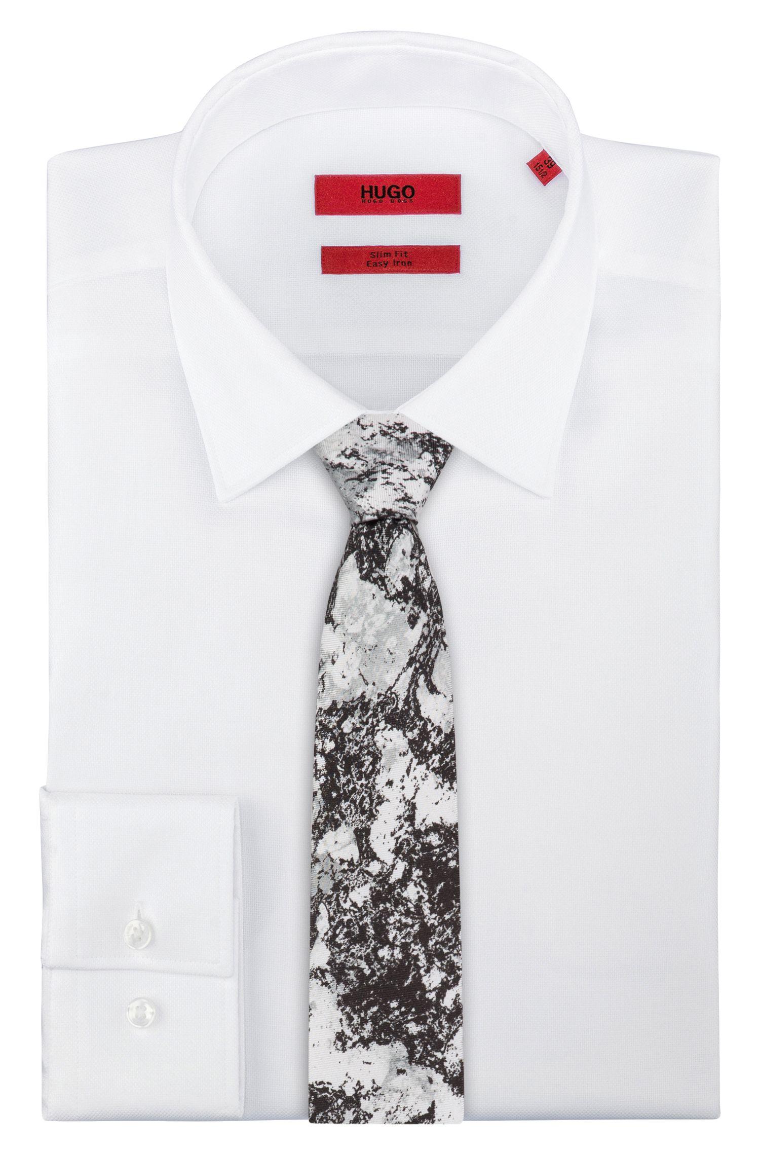 Silk tie with snow camouflage print, Black