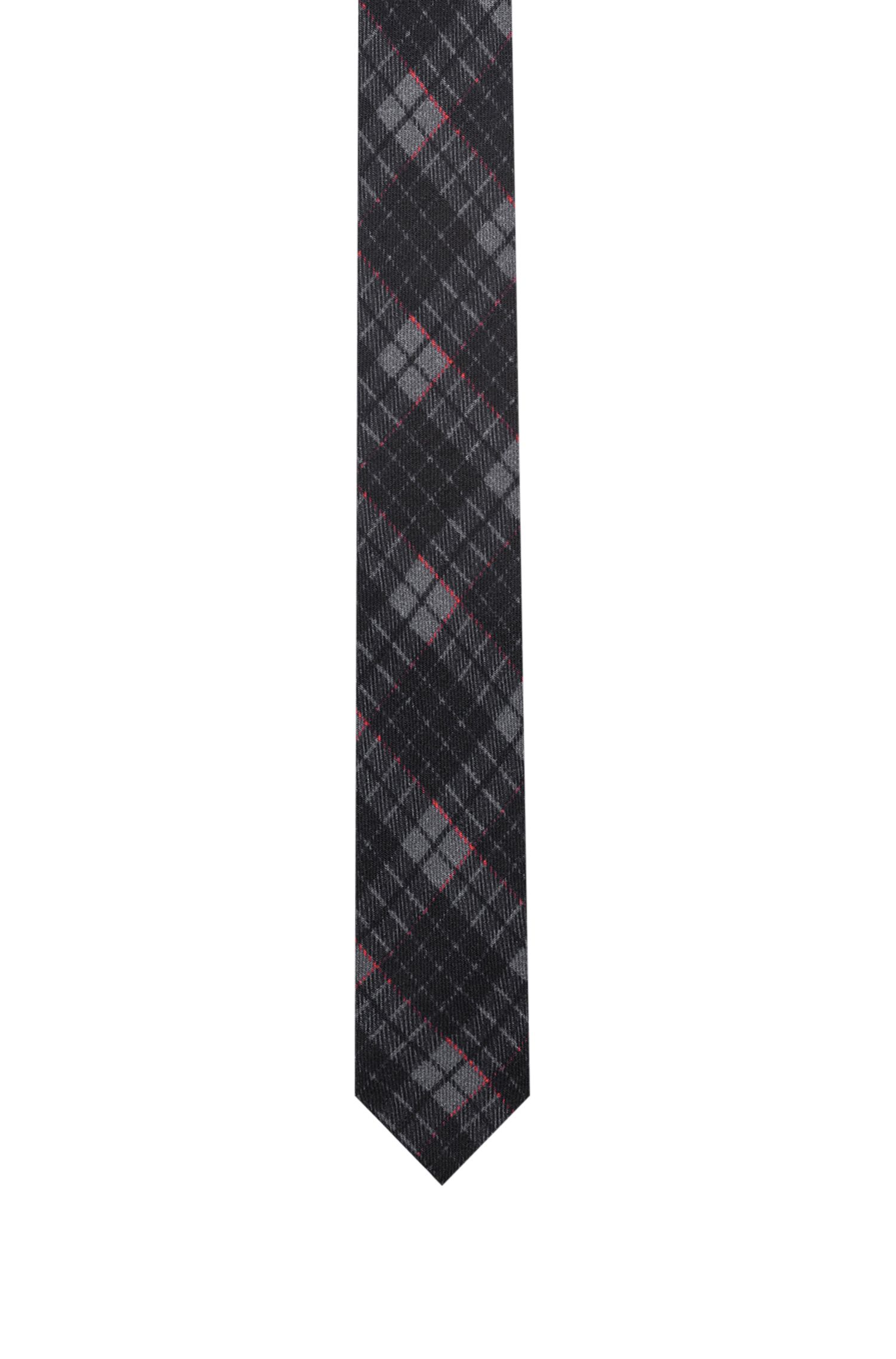 Checkered tie in pure wool, Red