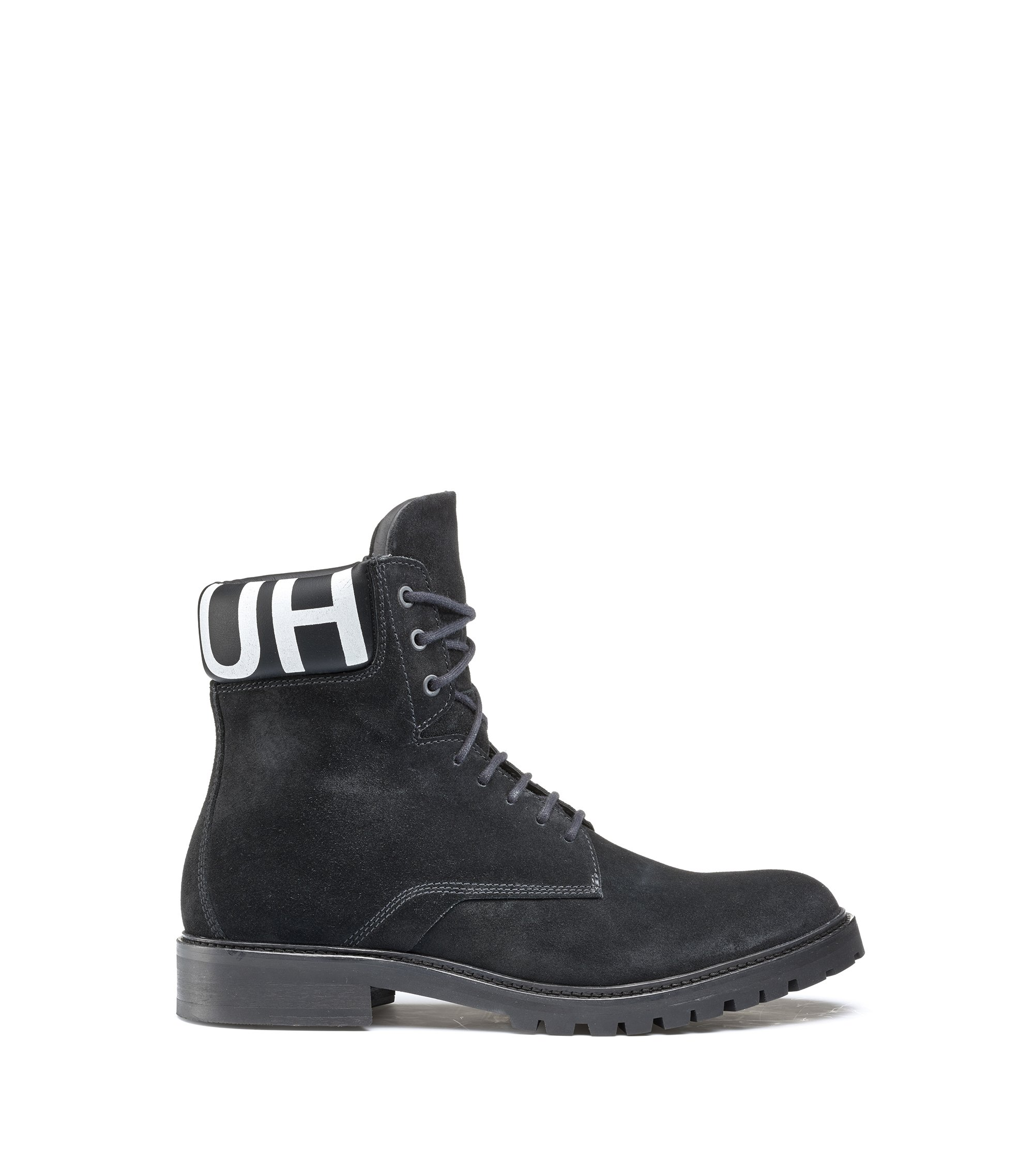 Lace-up suede boots with logo-print padded collar, Black