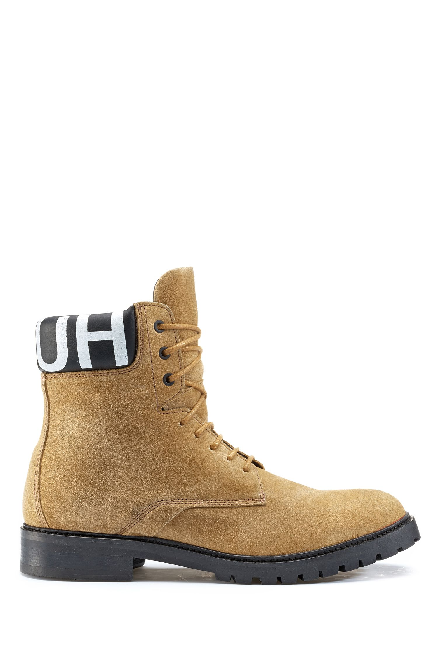 Lace-up suede boots with logo-print padded collar, Beige