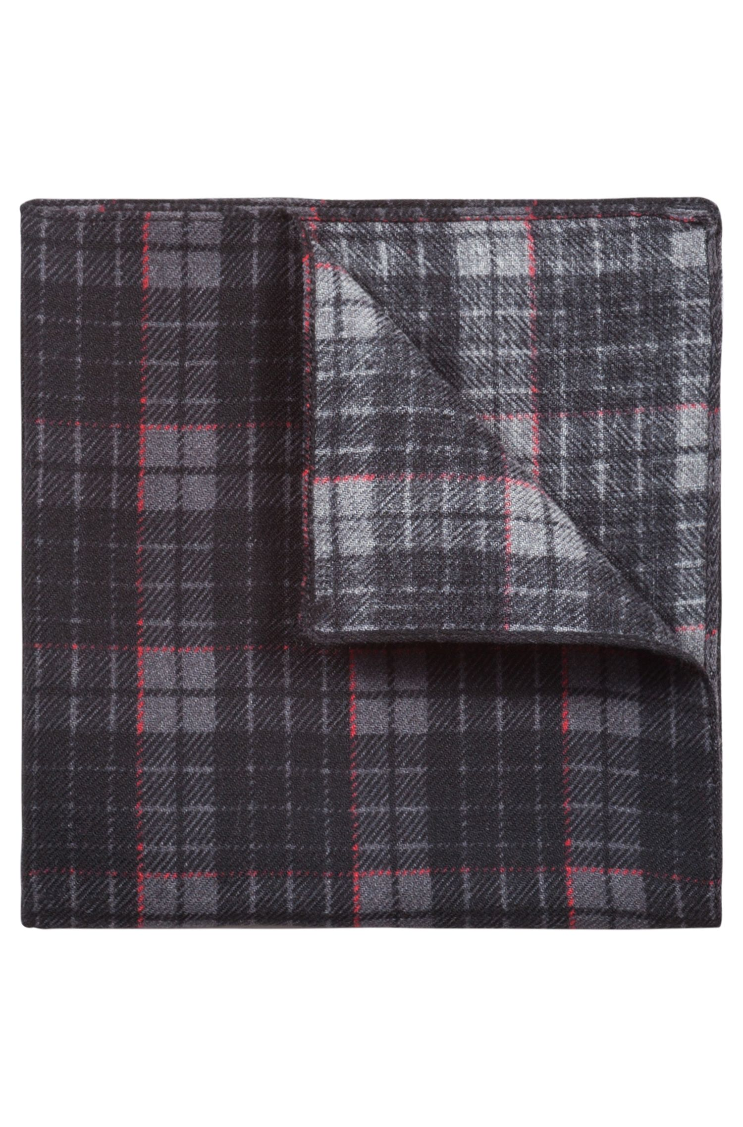 Check-print pocket square in pure wool, Red