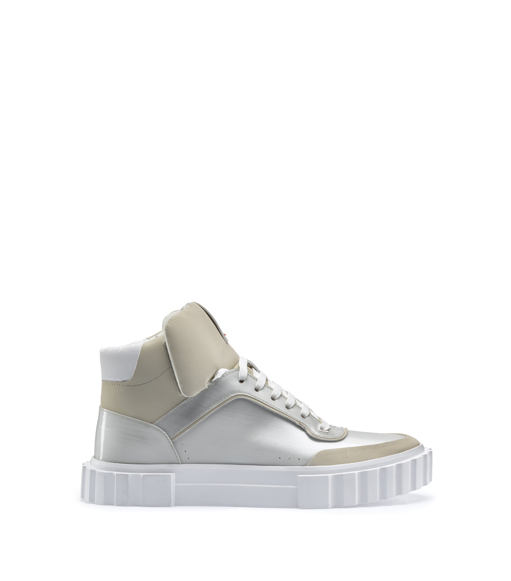 High-top lace-up sneakers with metallic finish, Light Grey