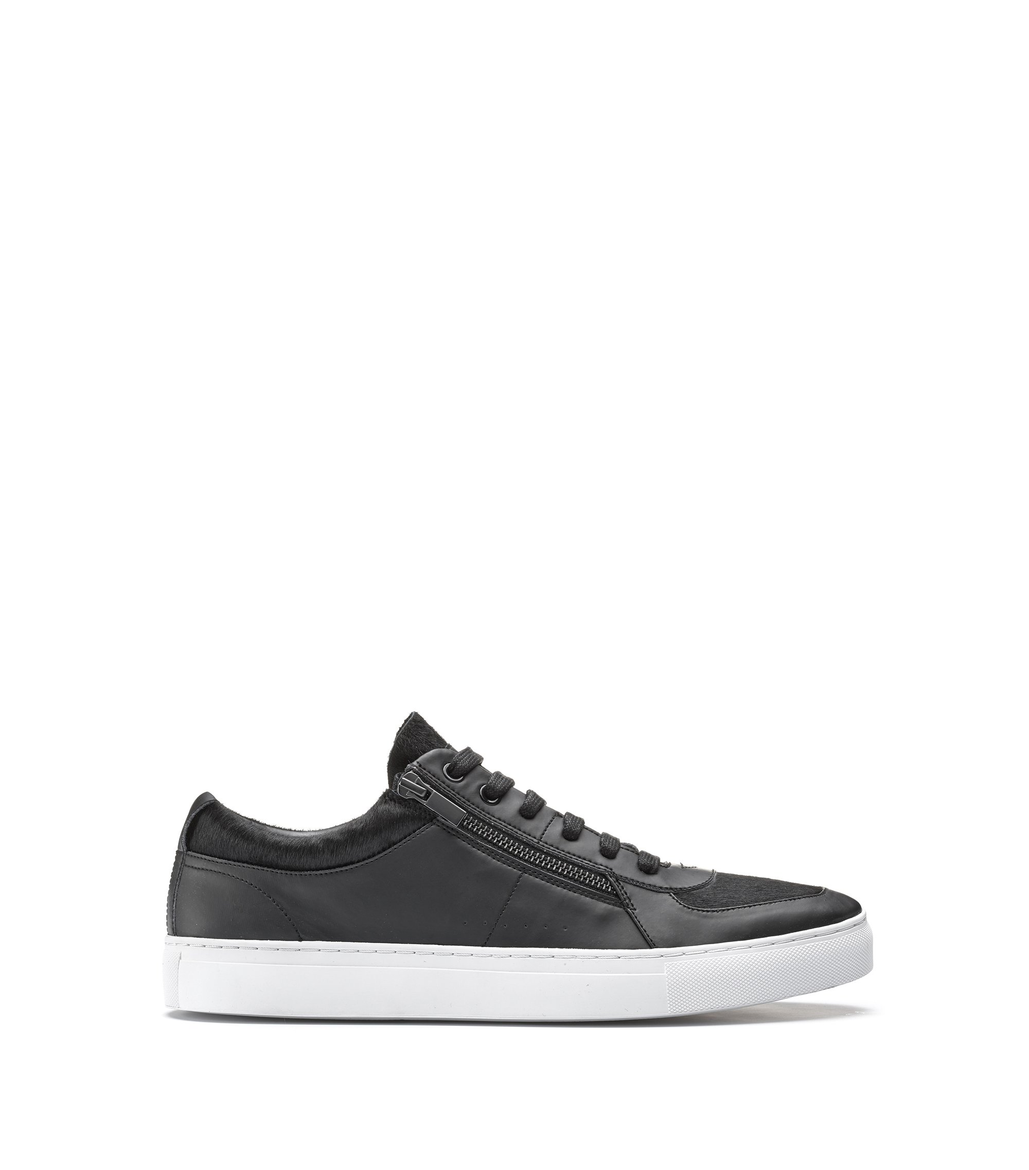Low-top sneakers in calf fur and faux leather, Black