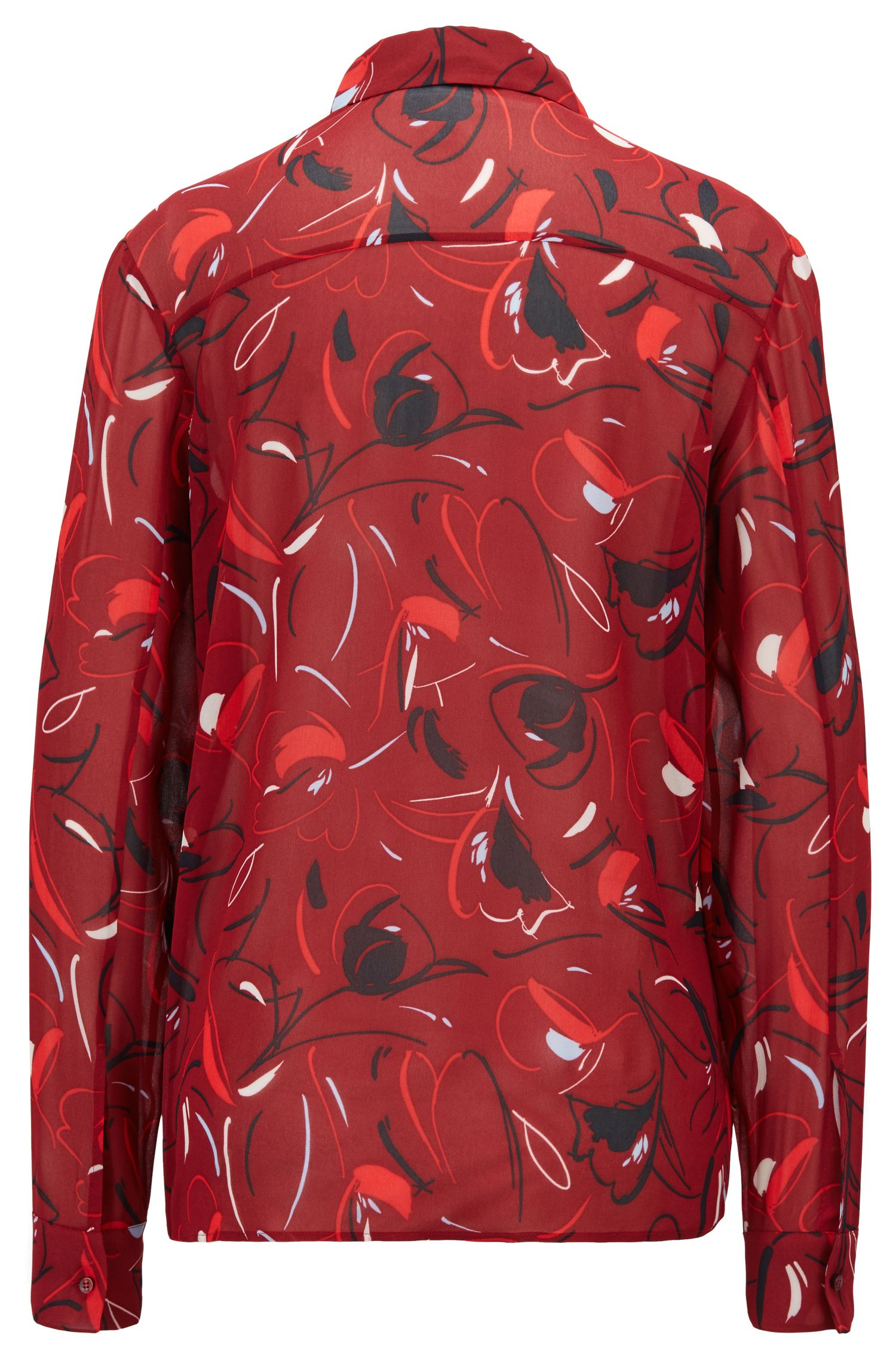 Relaxed-fit blouse in printed Italian fabric, Patterned