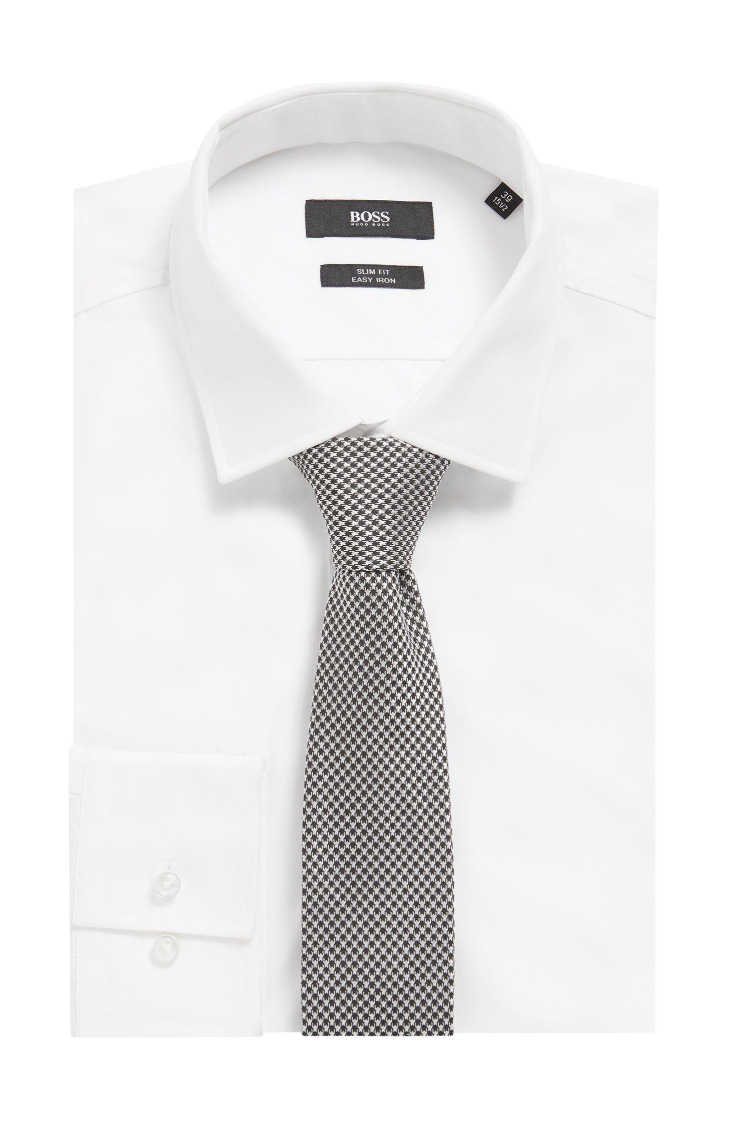 Italian-made tie in pepita-patterned silk jacquard, Black