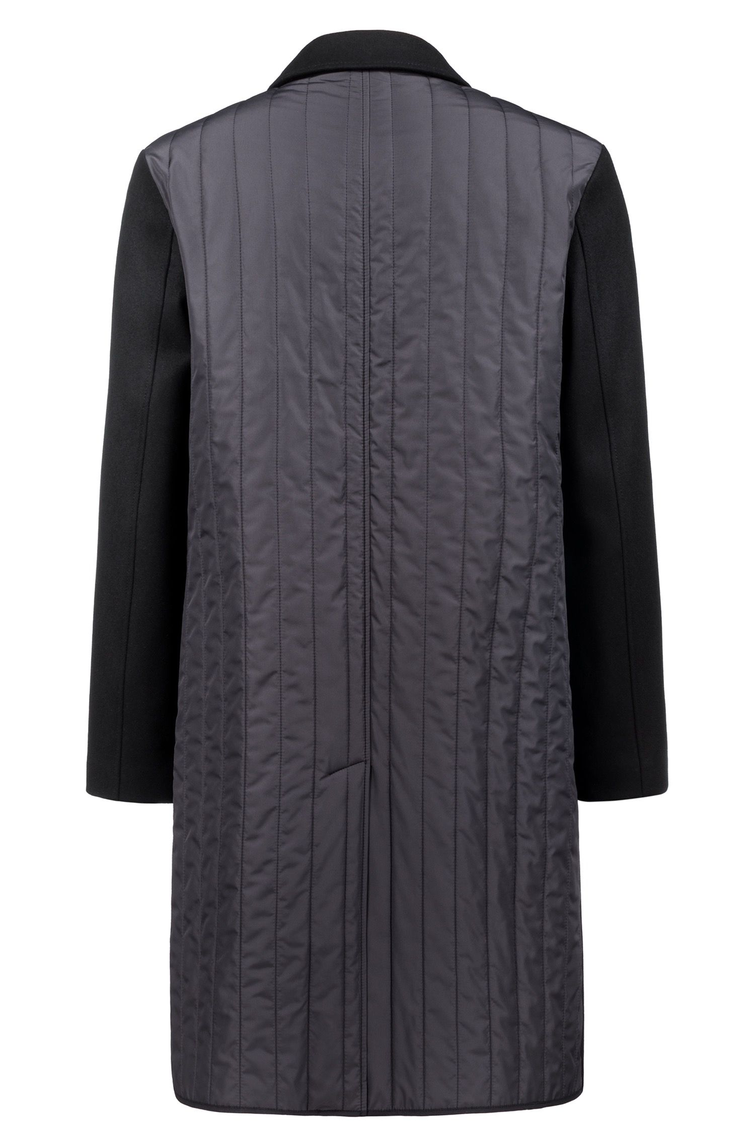Relaxed-fit wool-blend coat with technical quilted back, Black