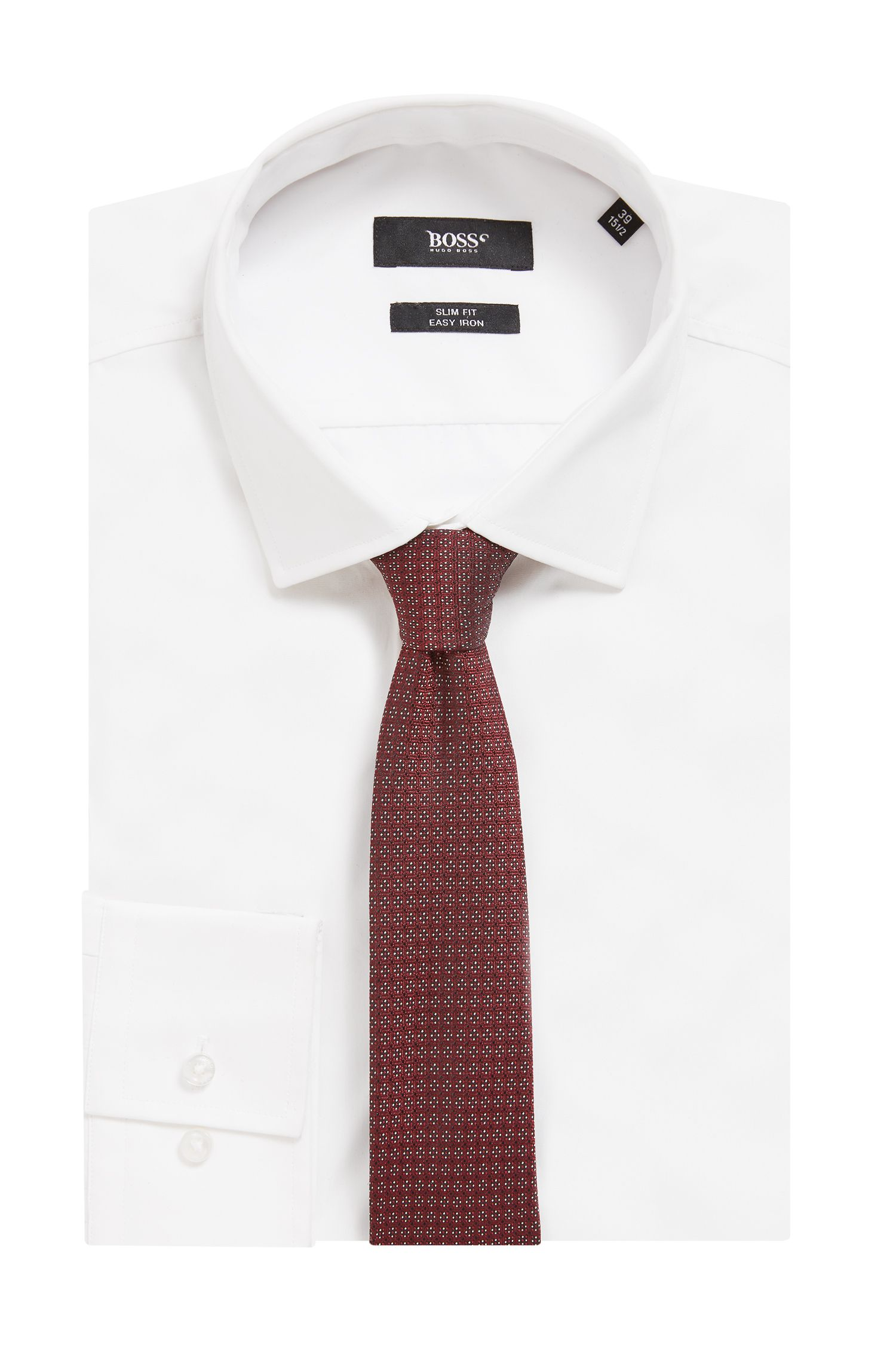 Italian-made tie in micro-patterned silk jacquard, Red