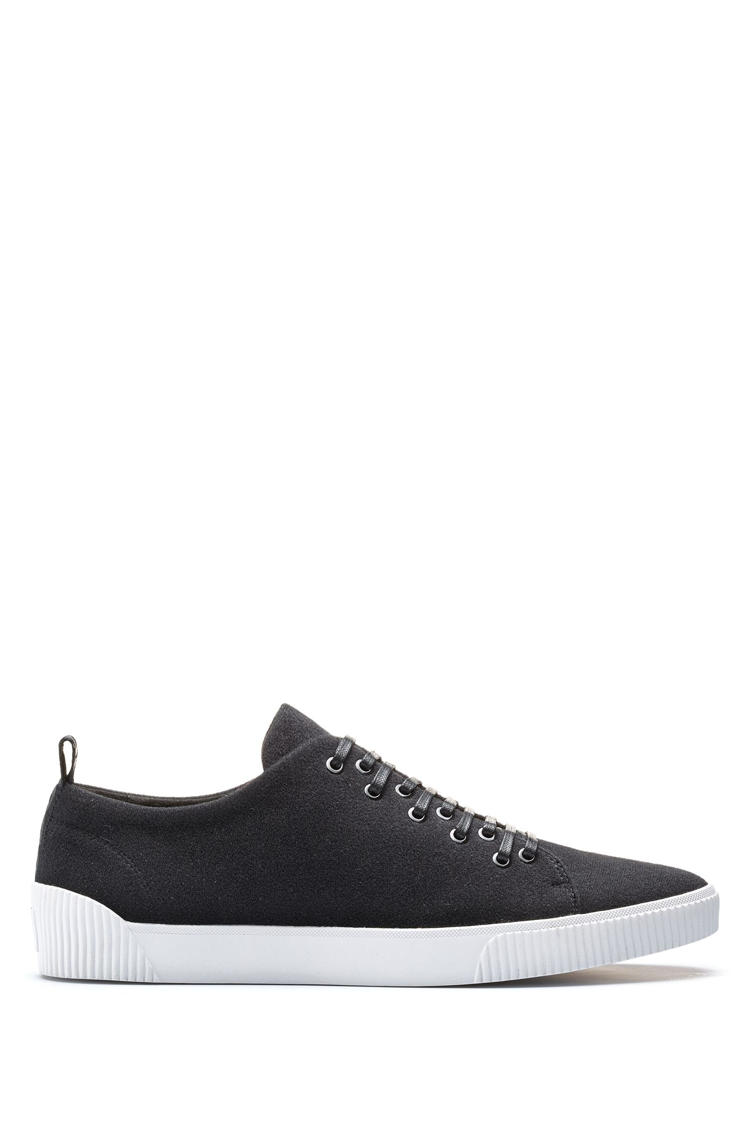 Tennis-inspired sneakers with removable patch detailing, Black