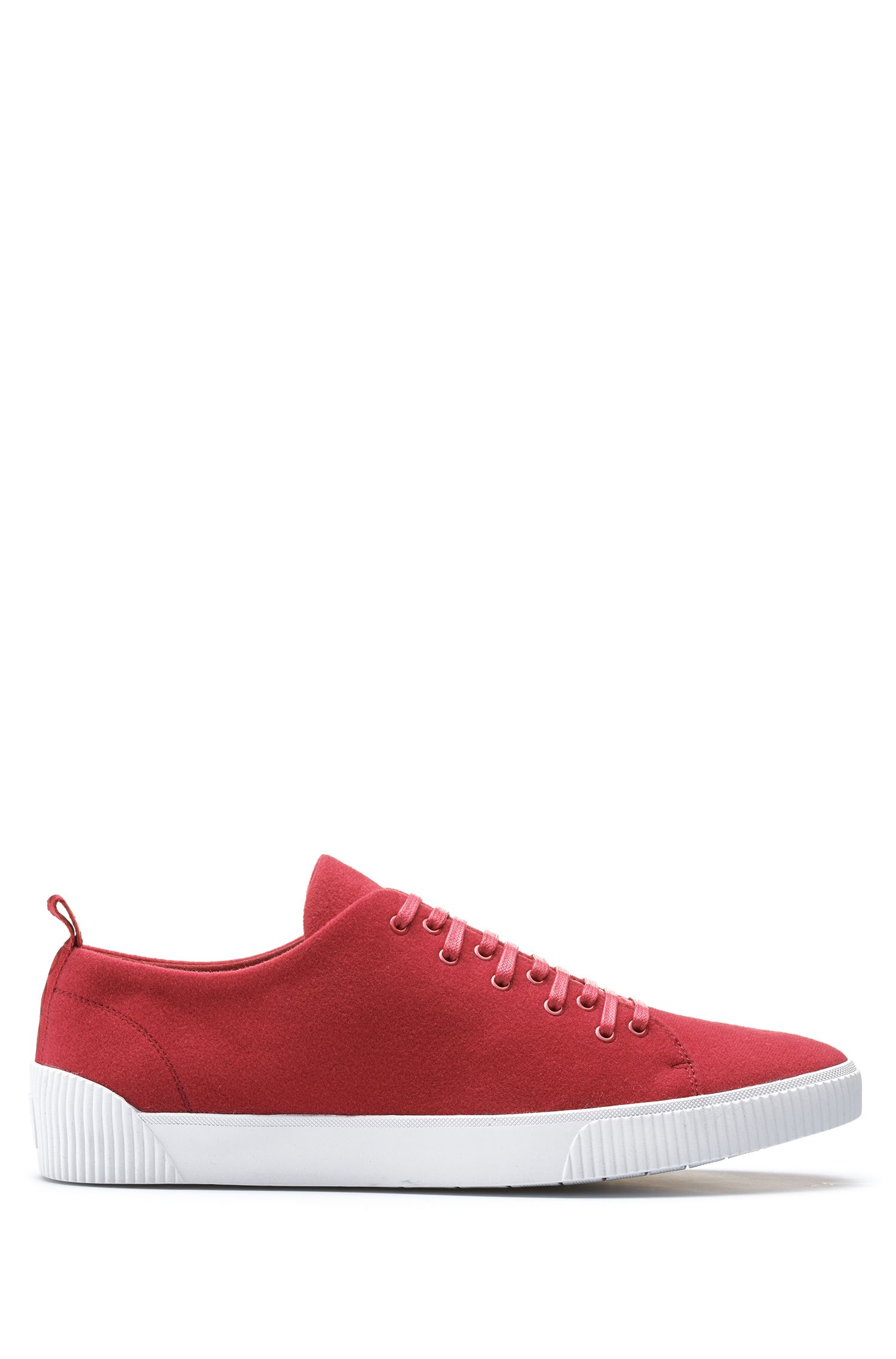 Tennis-inspired sneakers with removable patch detailing, Red