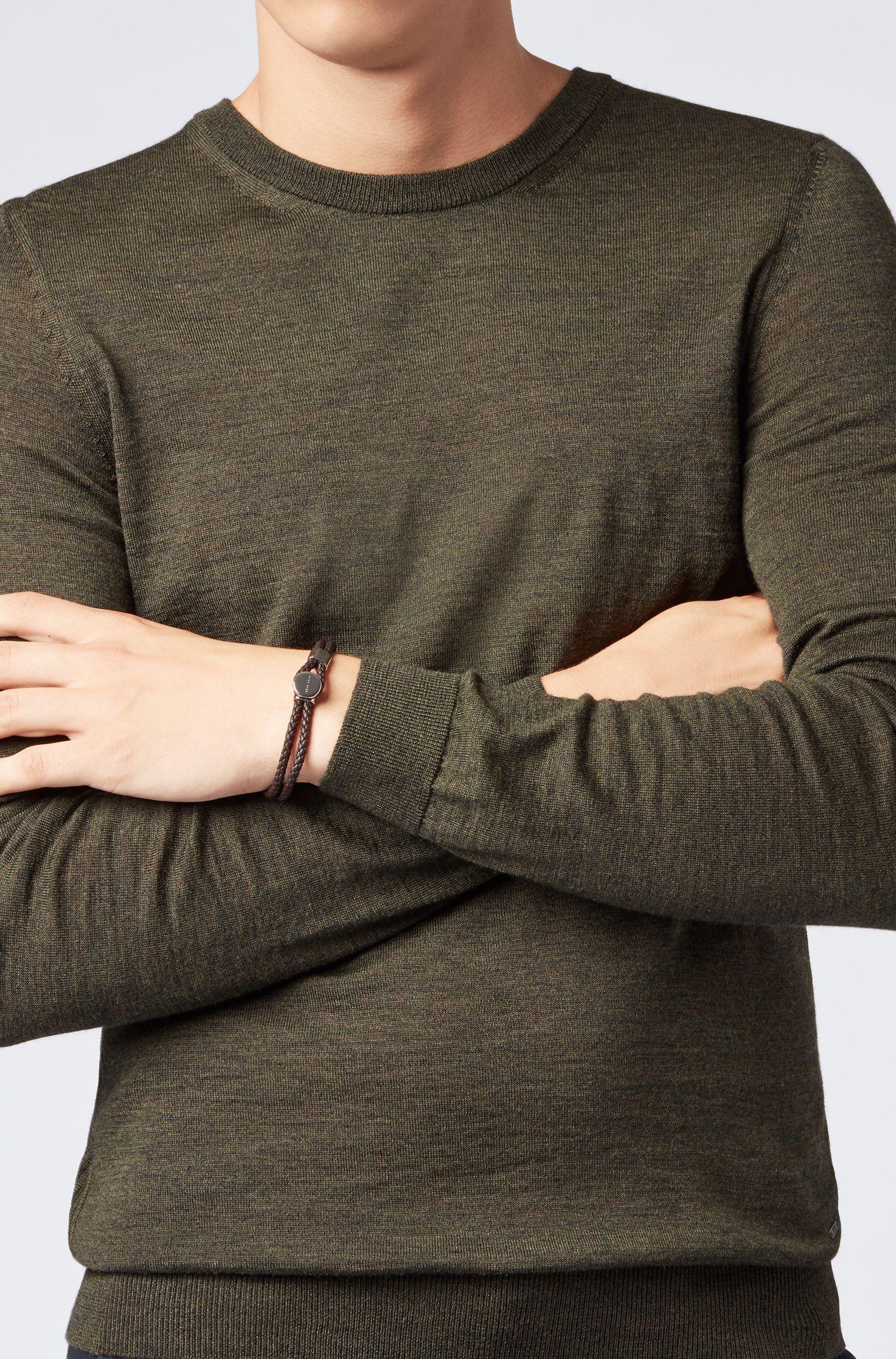 Italian-made double-wrap braided bracelet in calf leather, Dark Brown