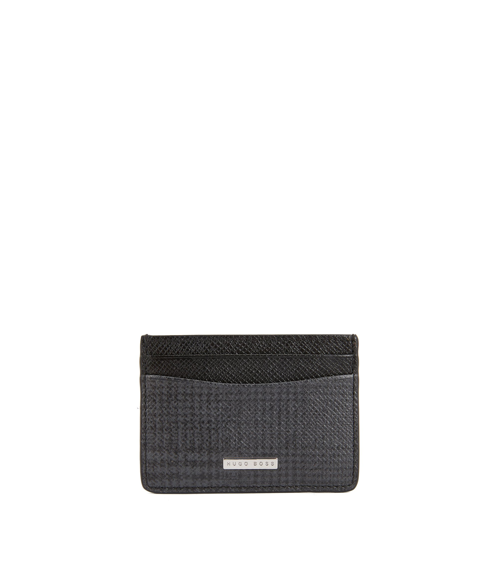 Signature Collection card holder in check-print calf leather, Patterned