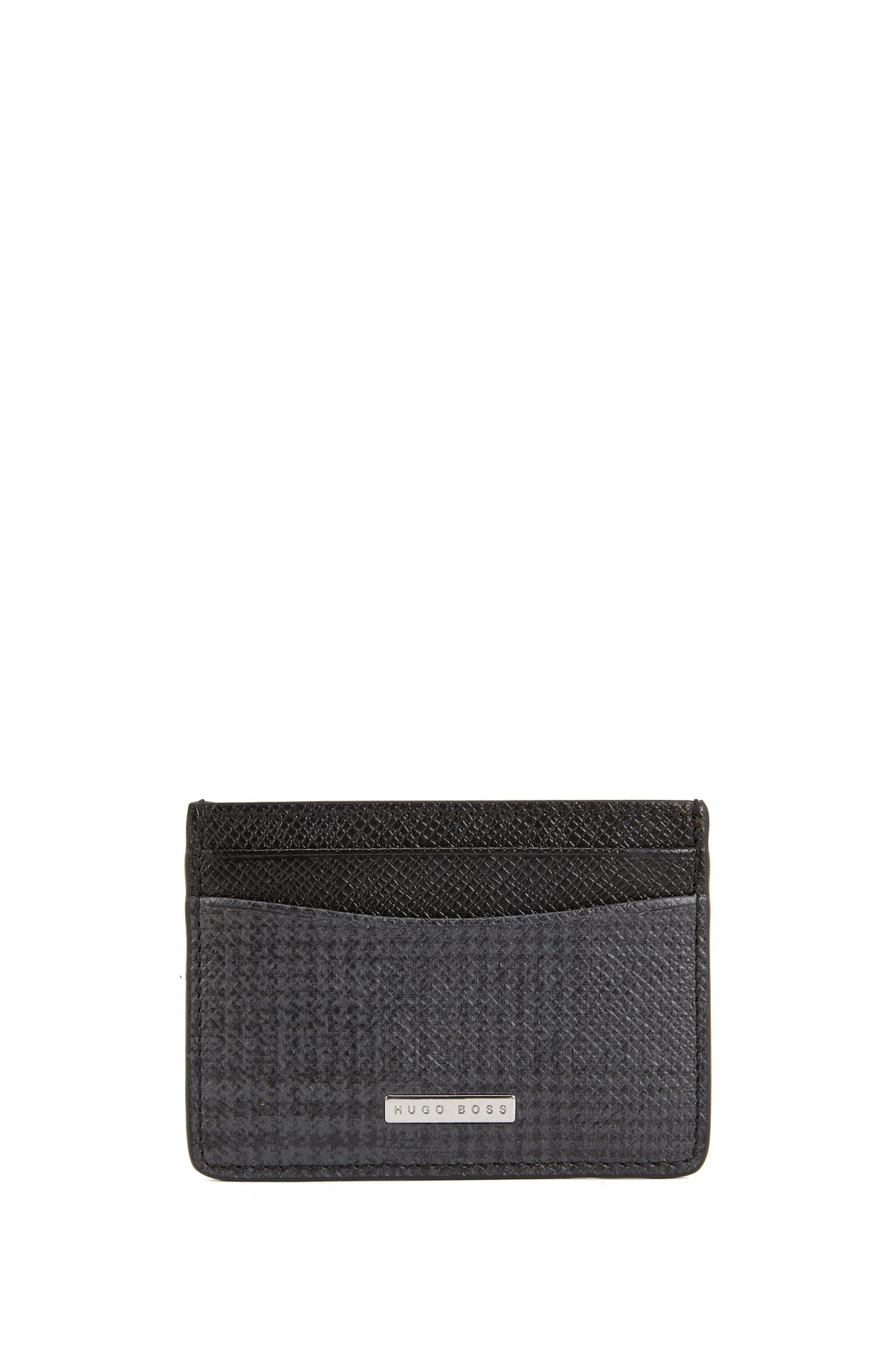 Signature Collection card holder in check-print calf leather