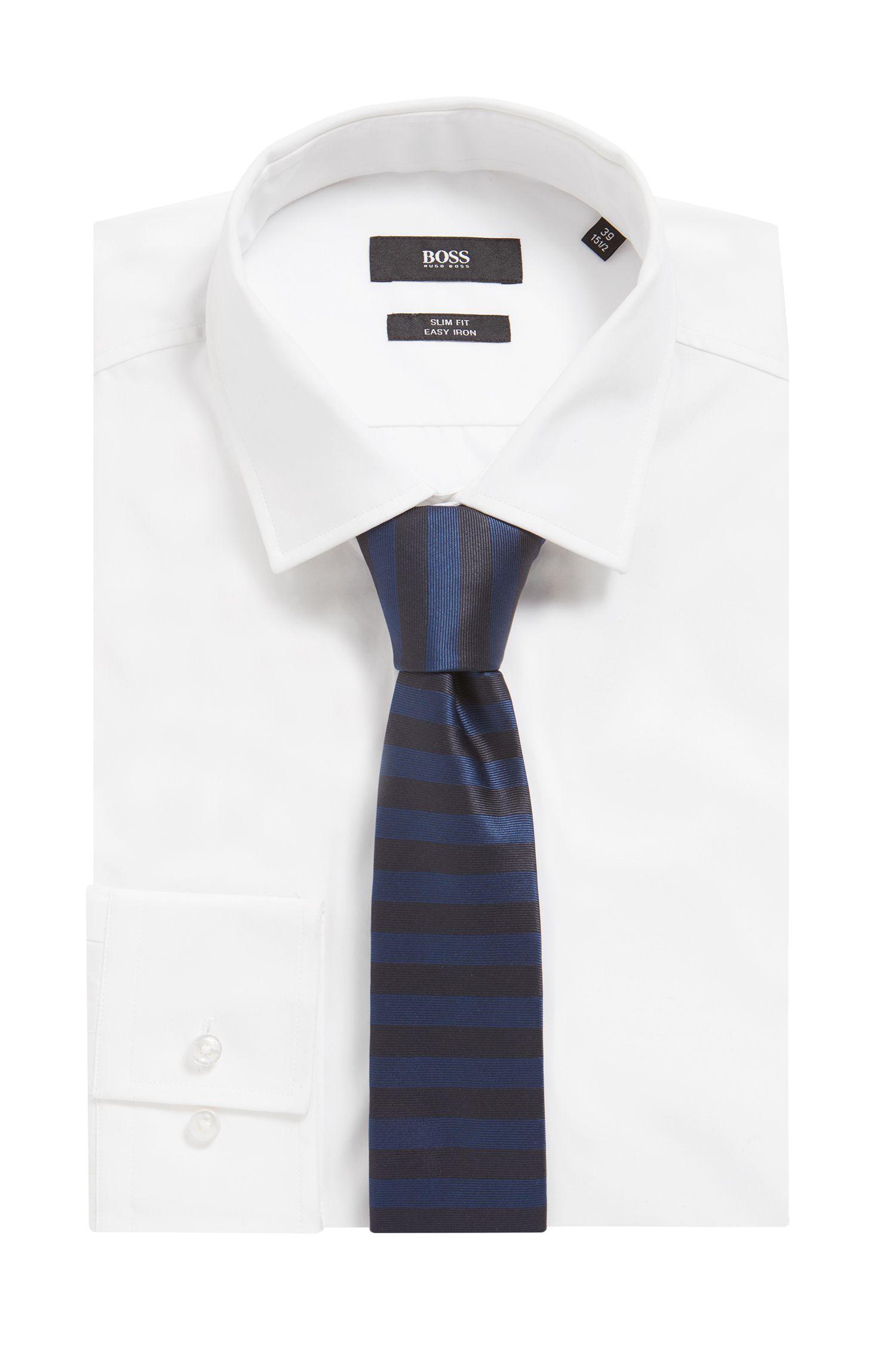 Silk-jacquard tie with horizontal stripes, Blue